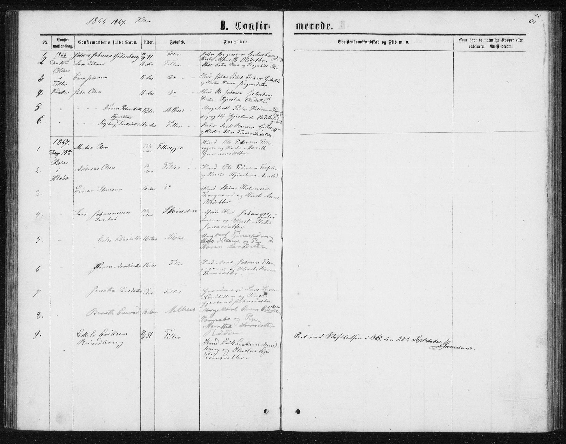 SAT, Ministerialprotokoller, klokkerbøker og fødselsregistre - Sør-Trøndelag, 621/L0459: Klokkerbok nr. 621C02, 1866-1895, s. 64