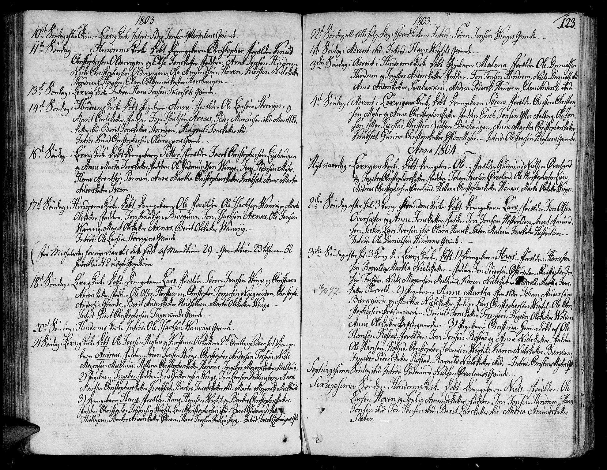 SAT, Ministerialprotokoller, klokkerbøker og fødselsregistre - Nord-Trøndelag, 701/L0004: Ministerialbok nr. 701A04, 1783-1816, s. 123