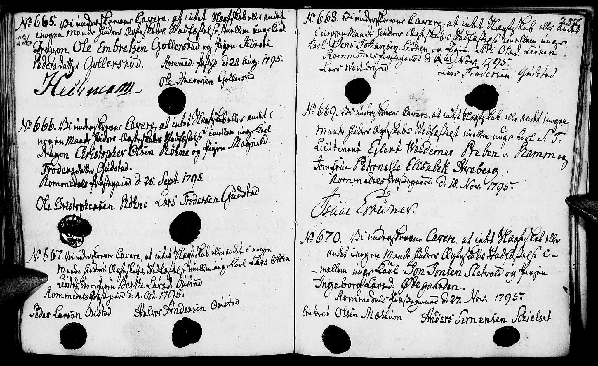 SAH, Romedal prestekontor, I/L0001: Forlovererklæringer nr. 1, 1762-1802, s. 236-237