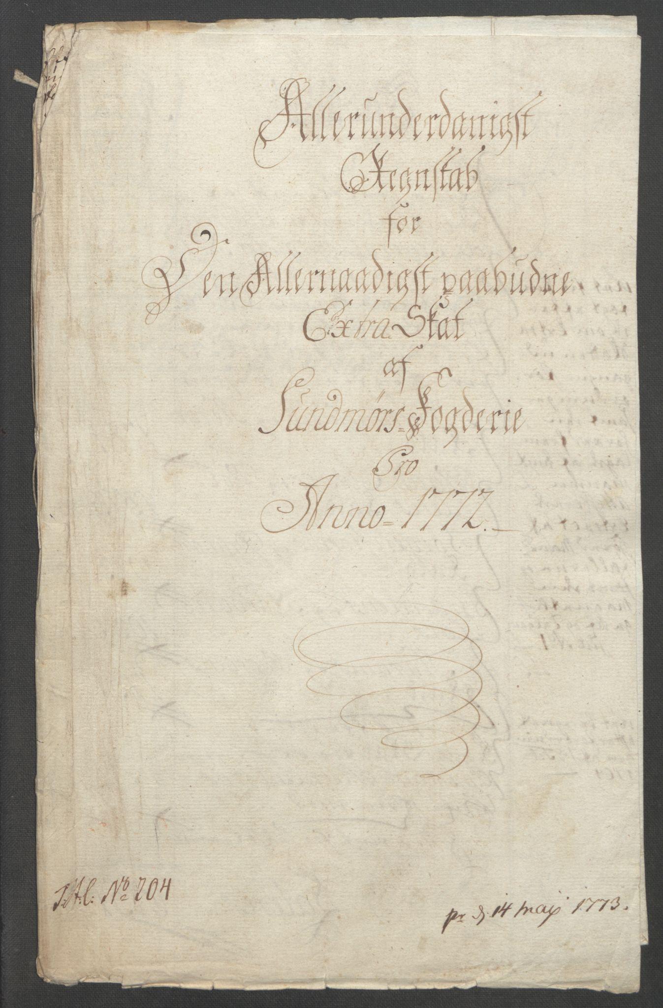 RA, Rentekammeret inntil 1814, Reviderte regnskaper, Fogderegnskap, R54/L3645: Ekstraskatten Sunnmøre, 1762-1772, s. 228