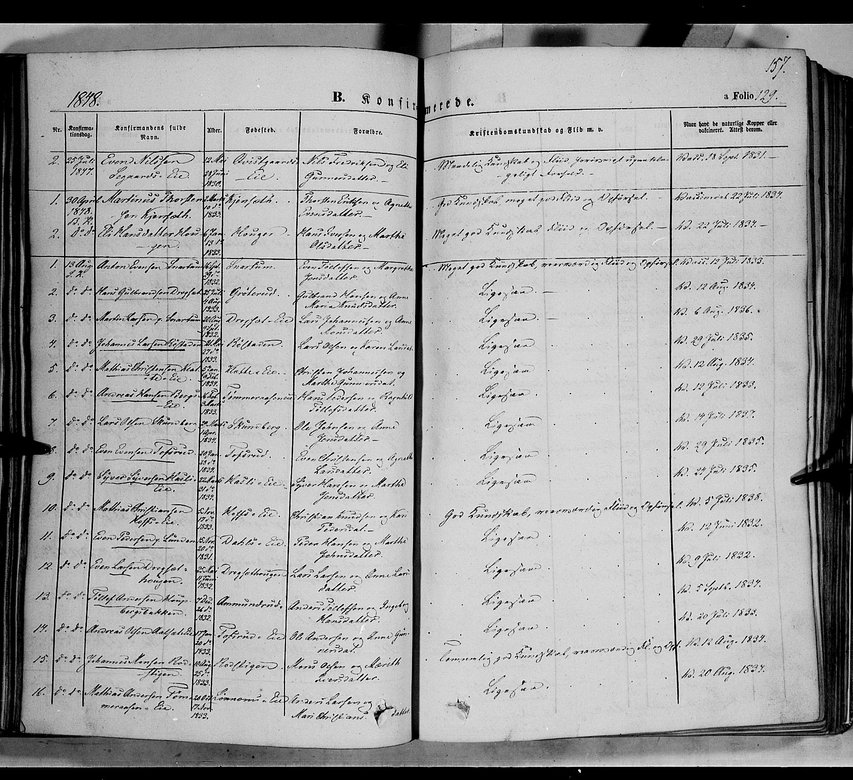 SAH, Biri prestekontor, Ministerialbok nr. 5, 1843-1854, s. 157