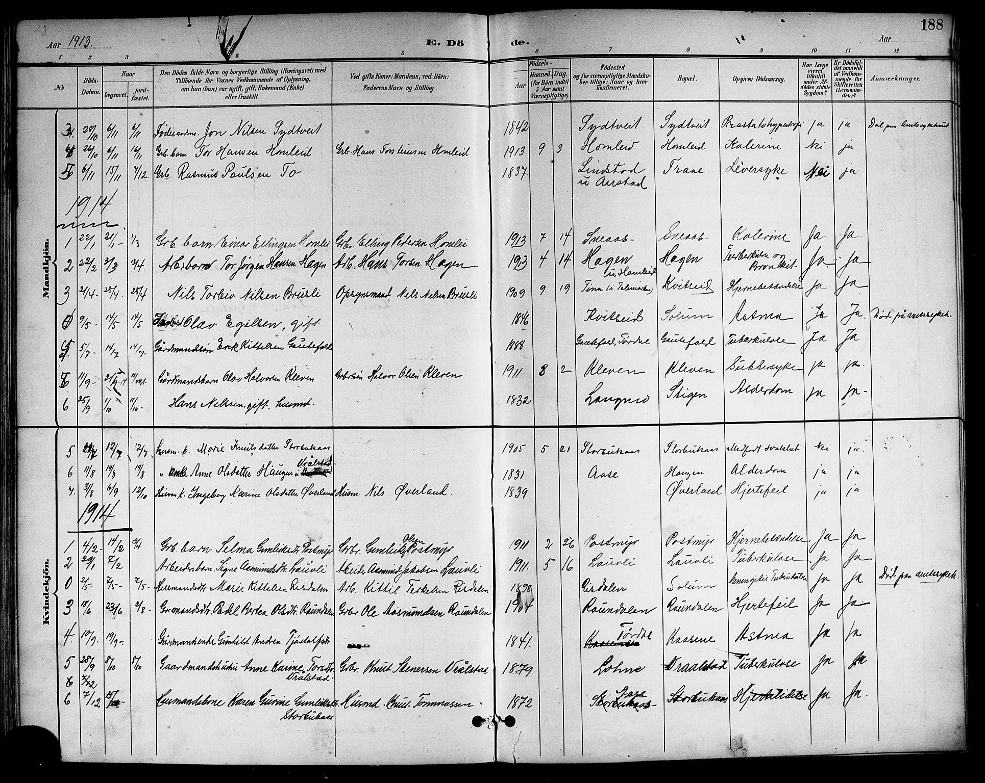SAKO, Drangedal kirkebøker, G/Gb/L0002: Klokkerbok nr. II 2, 1895-1918, s. 188