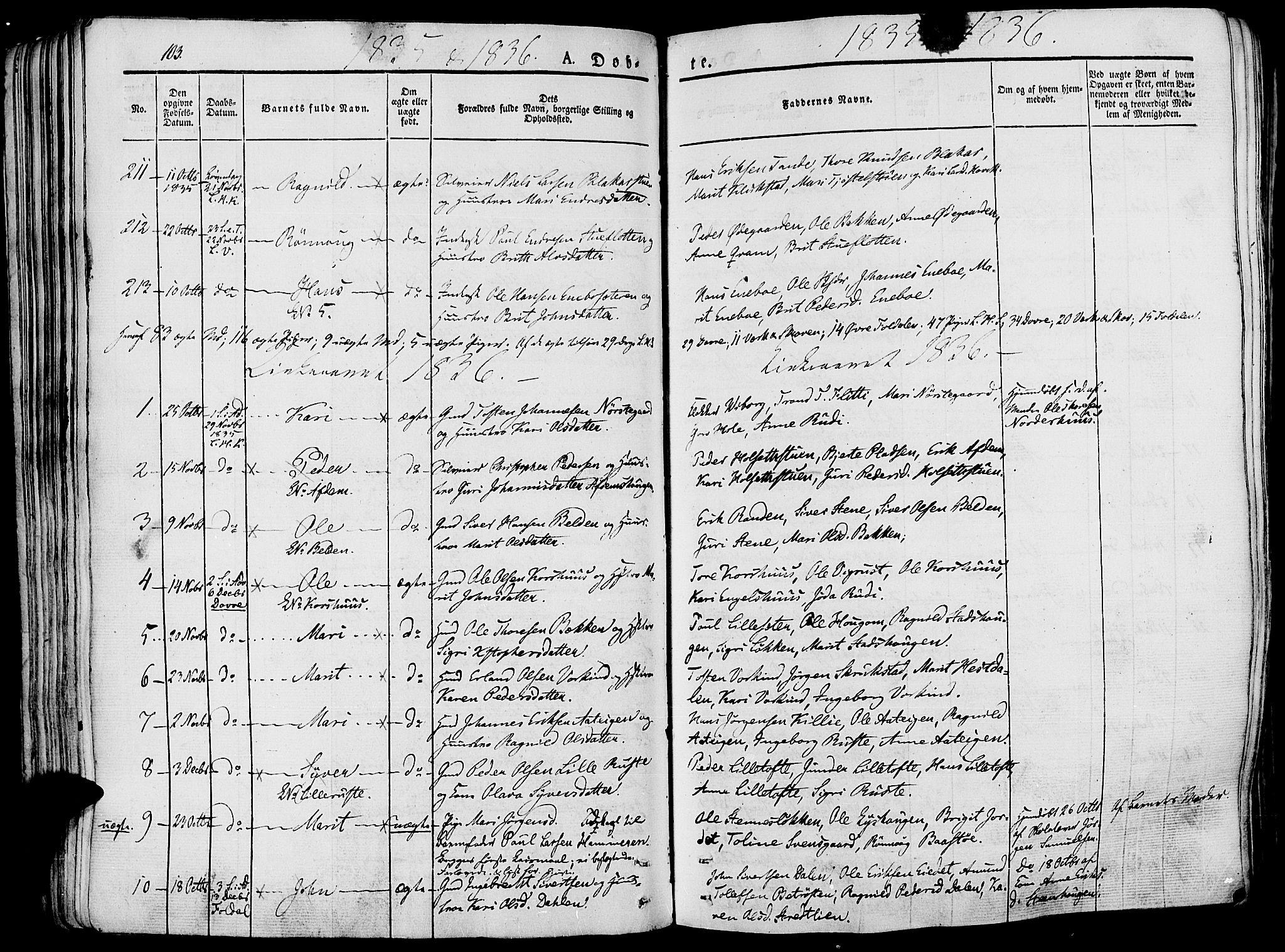 SAH, Lesja prestekontor, Ministerialbok nr. 5, 1830-1842, s. 103