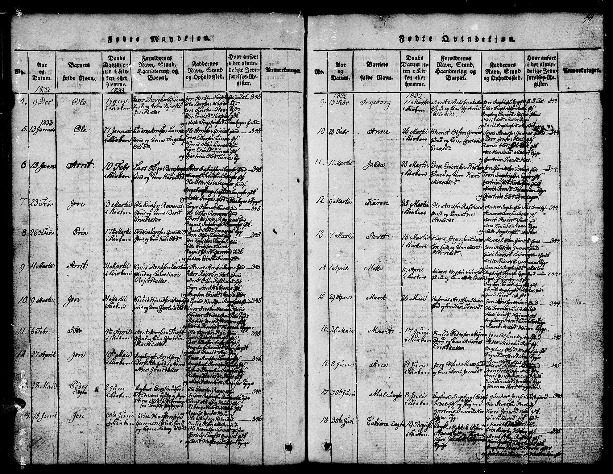 SAT, Ministerialprotokoller, klokkerbøker og fødselsregistre - Sør-Trøndelag, 674/L0874: Klokkerbok nr. 674C01, 1816-1860, s. 44
