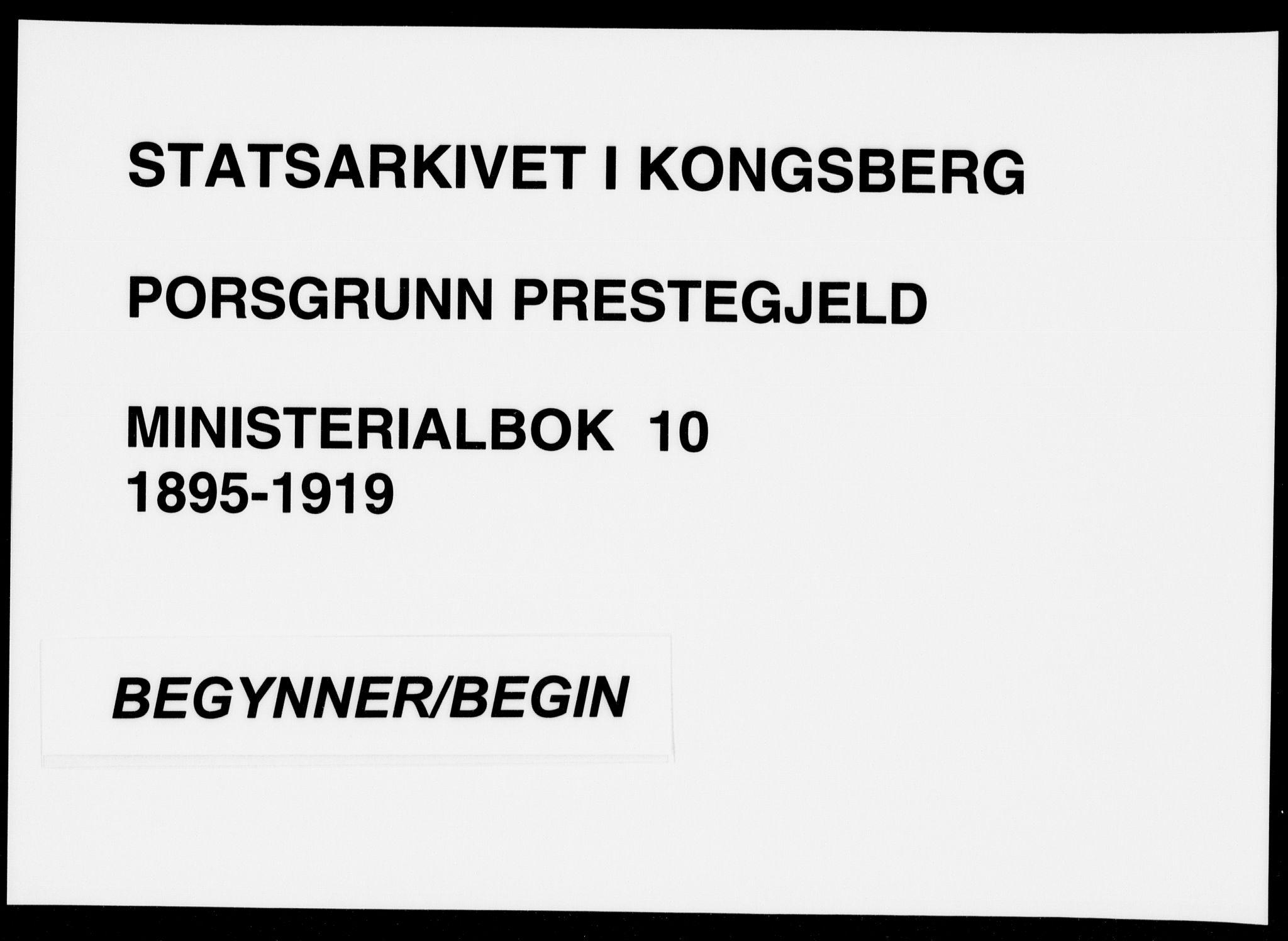 SAKO, Porsgrunn kirkebøker , F/Fa/L0010: Ministerialbok nr. 10, 1895-1919