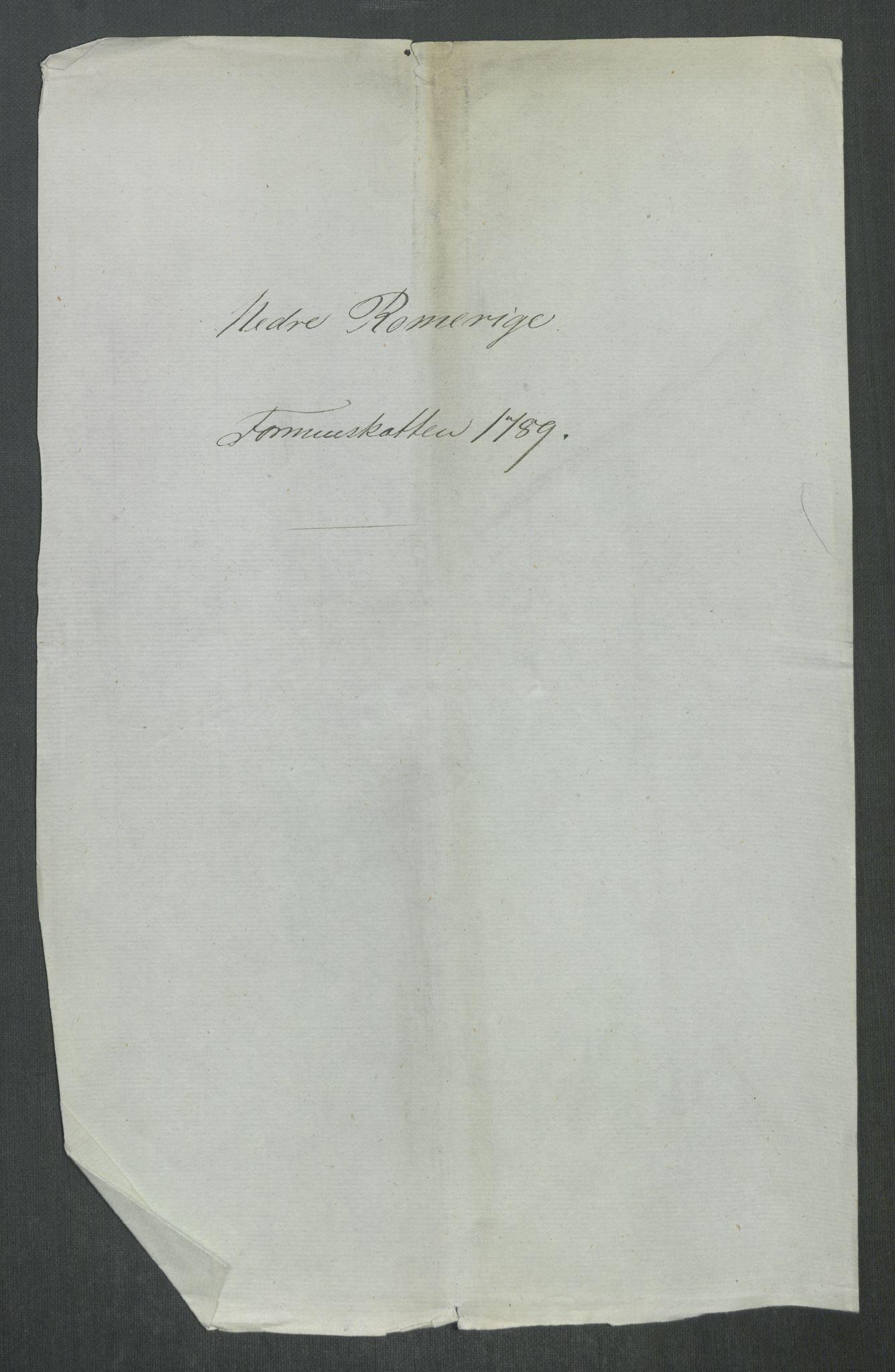 RA, Rentekammeret inntil 1814, Reviderte regnskaper, Mindre regnskaper, Rf/Rfe/L0028: Nedre Romerike fogderi. Nedre Telemark og Bamle fogderi, Nordhordland og Voss fogderi, 1789, s. 3