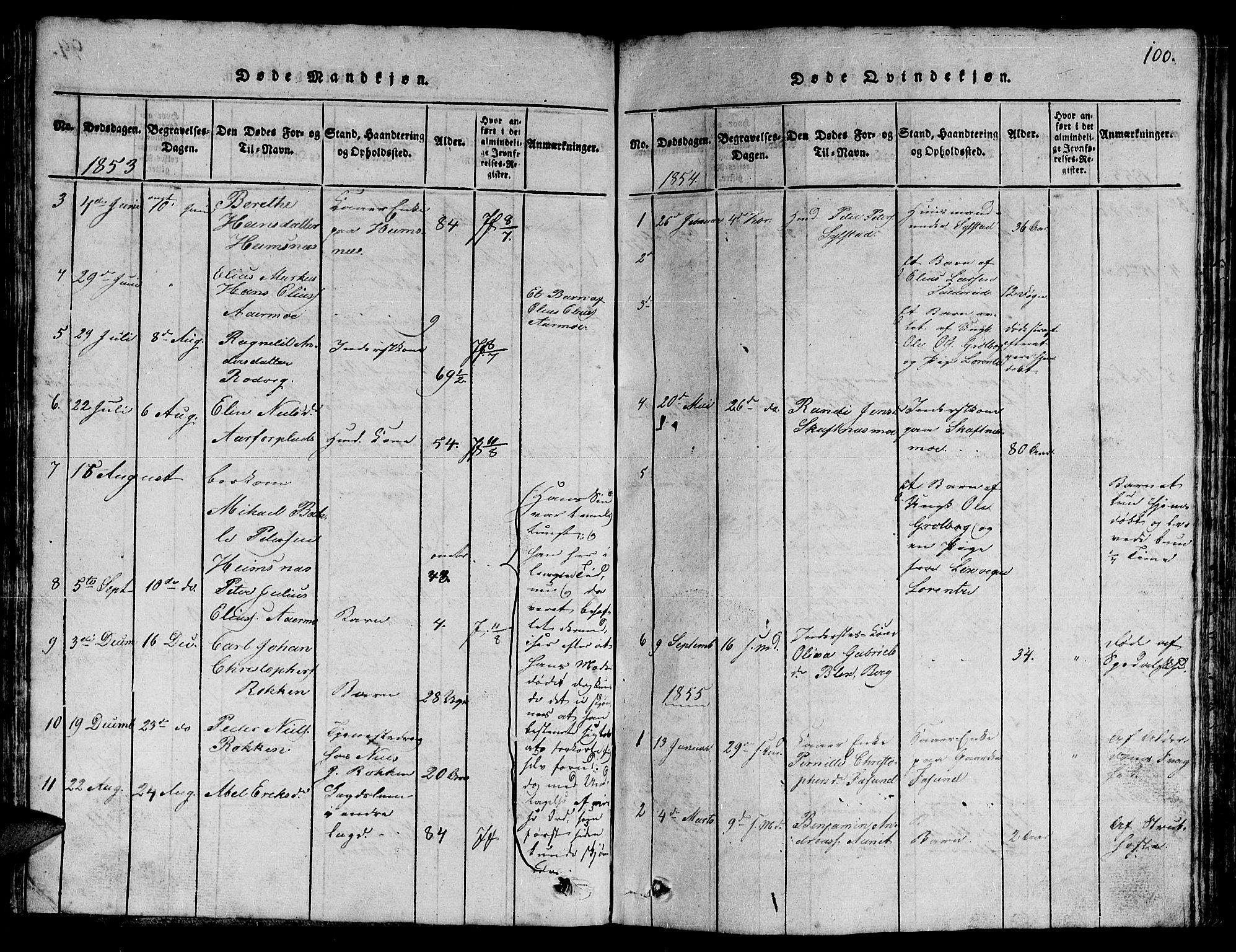 SAT, Ministerialprotokoller, klokkerbøker og fødselsregistre - Nord-Trøndelag, 780/L0648: Klokkerbok nr. 780C01 /3, 1815-1877, s. 100