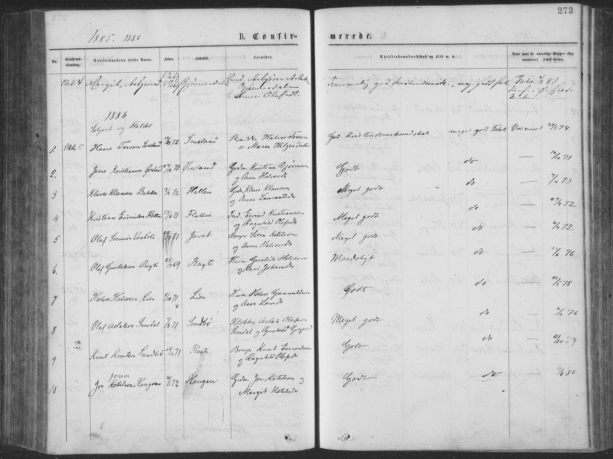 SAKO, Seljord kirkebøker, F/Fa/L0014: Ministerialbok nr. I 14, 1877-1886, s. 273