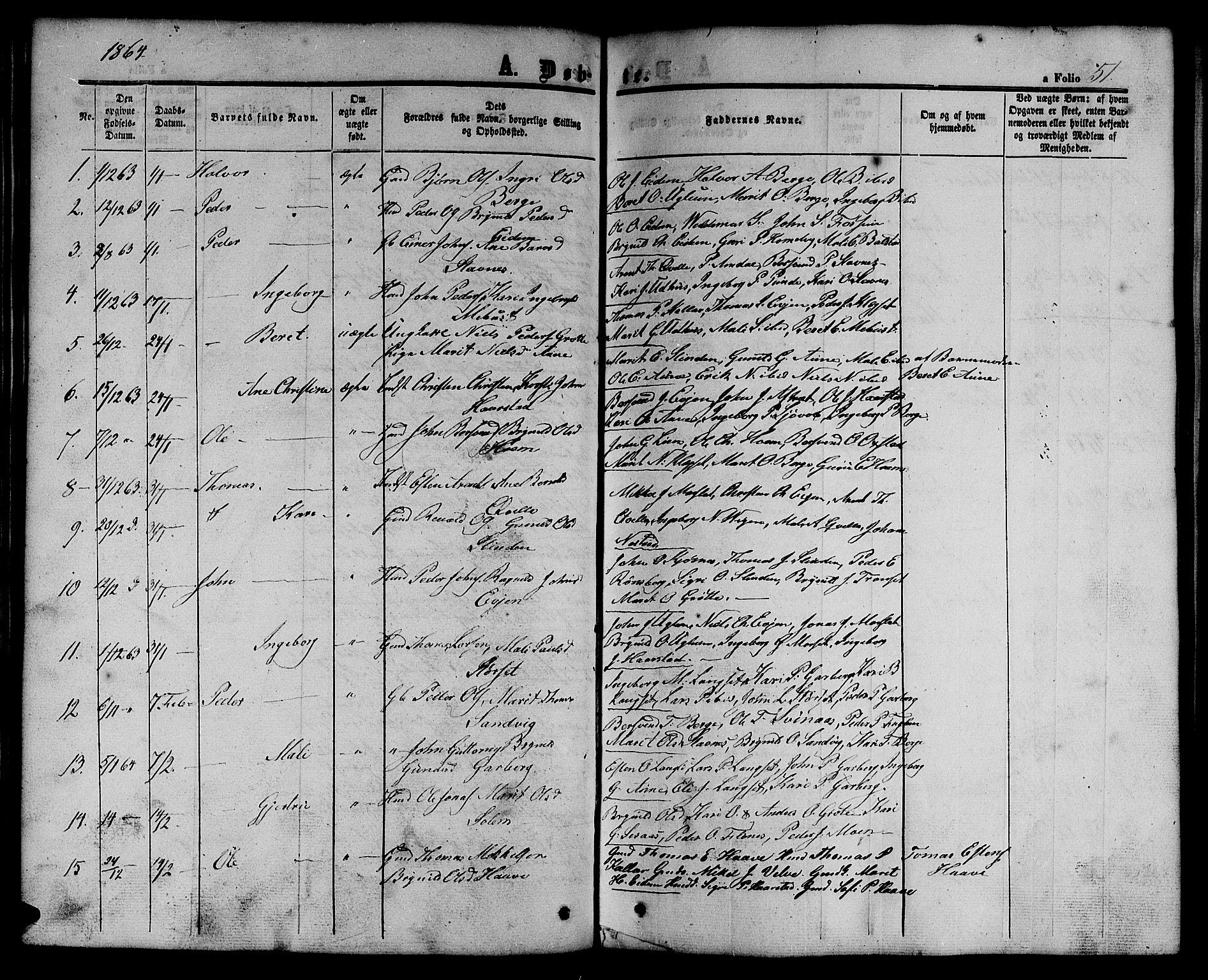 SAT, Ministerialprotokoller, klokkerbøker og fødselsregistre - Sør-Trøndelag, 695/L1155: Klokkerbok nr. 695C06, 1859-1868, s. 51