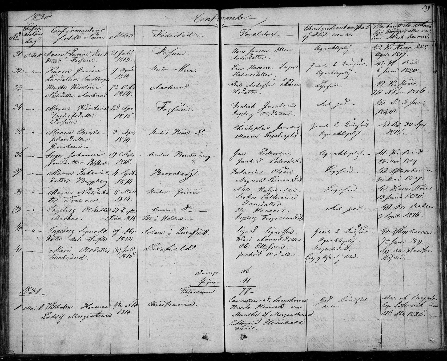 SAKO, Gjerpen kirkebøker, F/Fa/L0006: Ministerialbok nr. 6, 1829-1834, s. 139