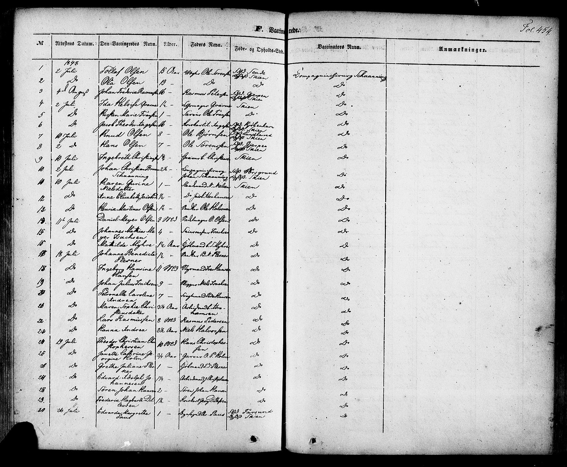 SAKO, Skien kirkebøker, F/Fa/L0006a: Ministerialbok nr. 6A, 1843-1856, s. 454