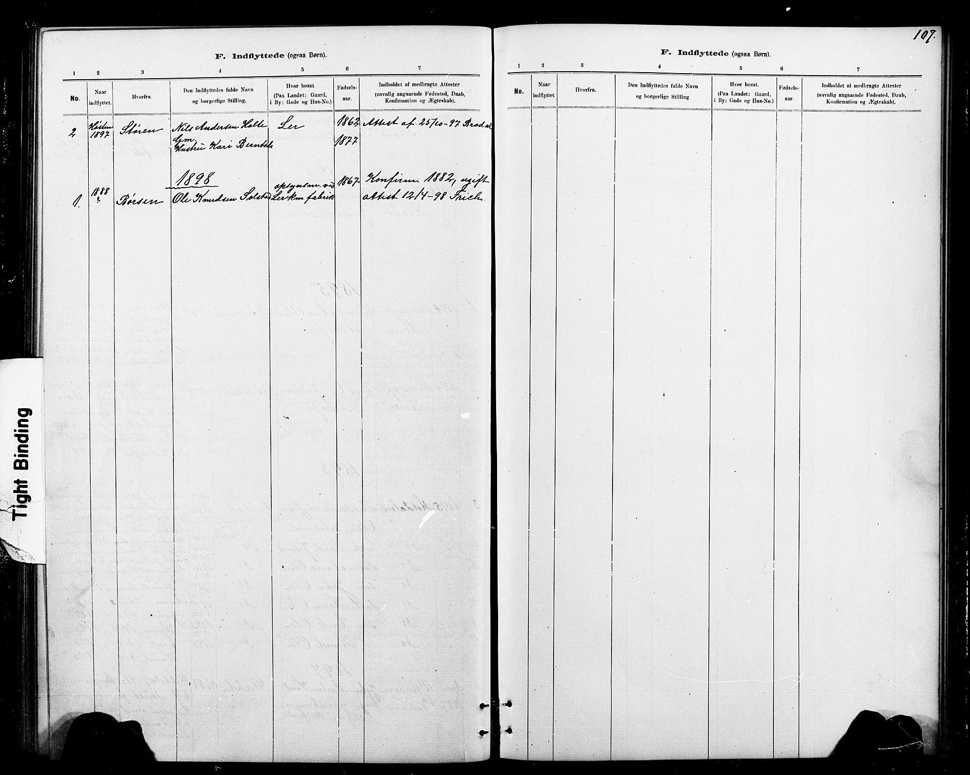 SAT, Ministerialprotokoller, klokkerbøker og fødselsregistre - Sør-Trøndelag, 693/L1123: Klokkerbok nr. 693C04, 1887-1910, s. 107