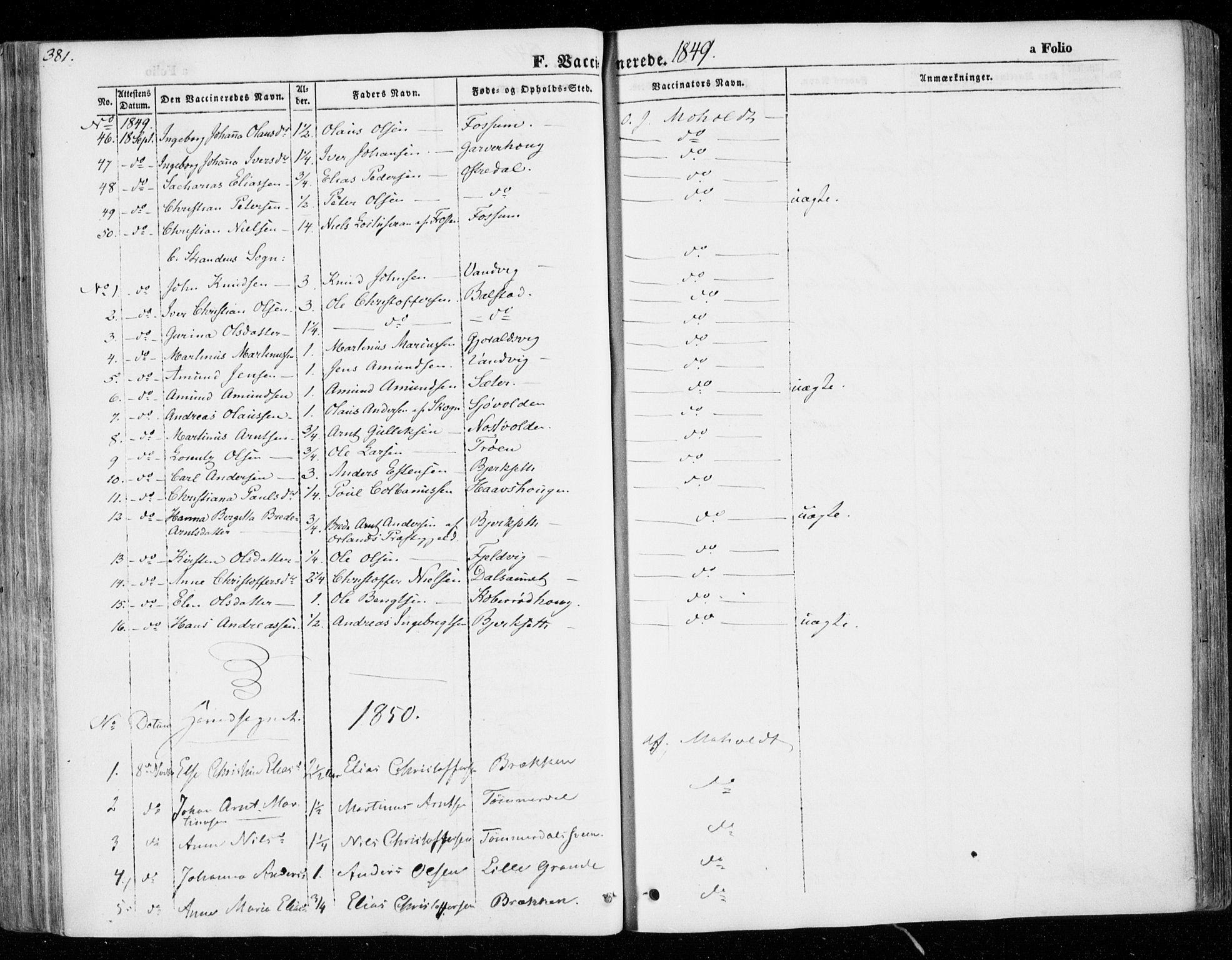 SAT, Ministerialprotokoller, klokkerbøker og fødselsregistre - Nord-Trøndelag, 701/L0007: Ministerialbok nr. 701A07 /1, 1842-1854, s. 381