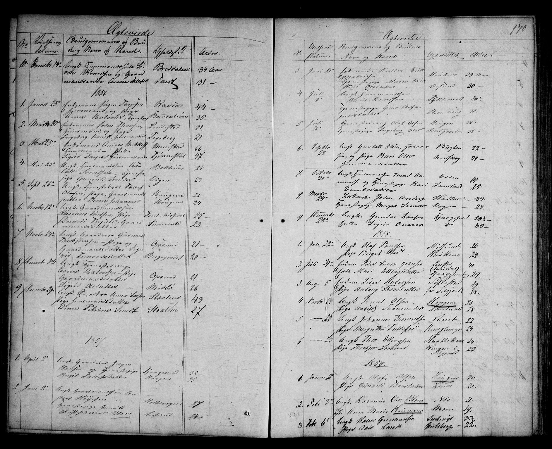 SAKO, Kviteseid kirkebøker, G/Ga/L0001: Klokkerbok nr. I 1, 1850-1893, s. 170