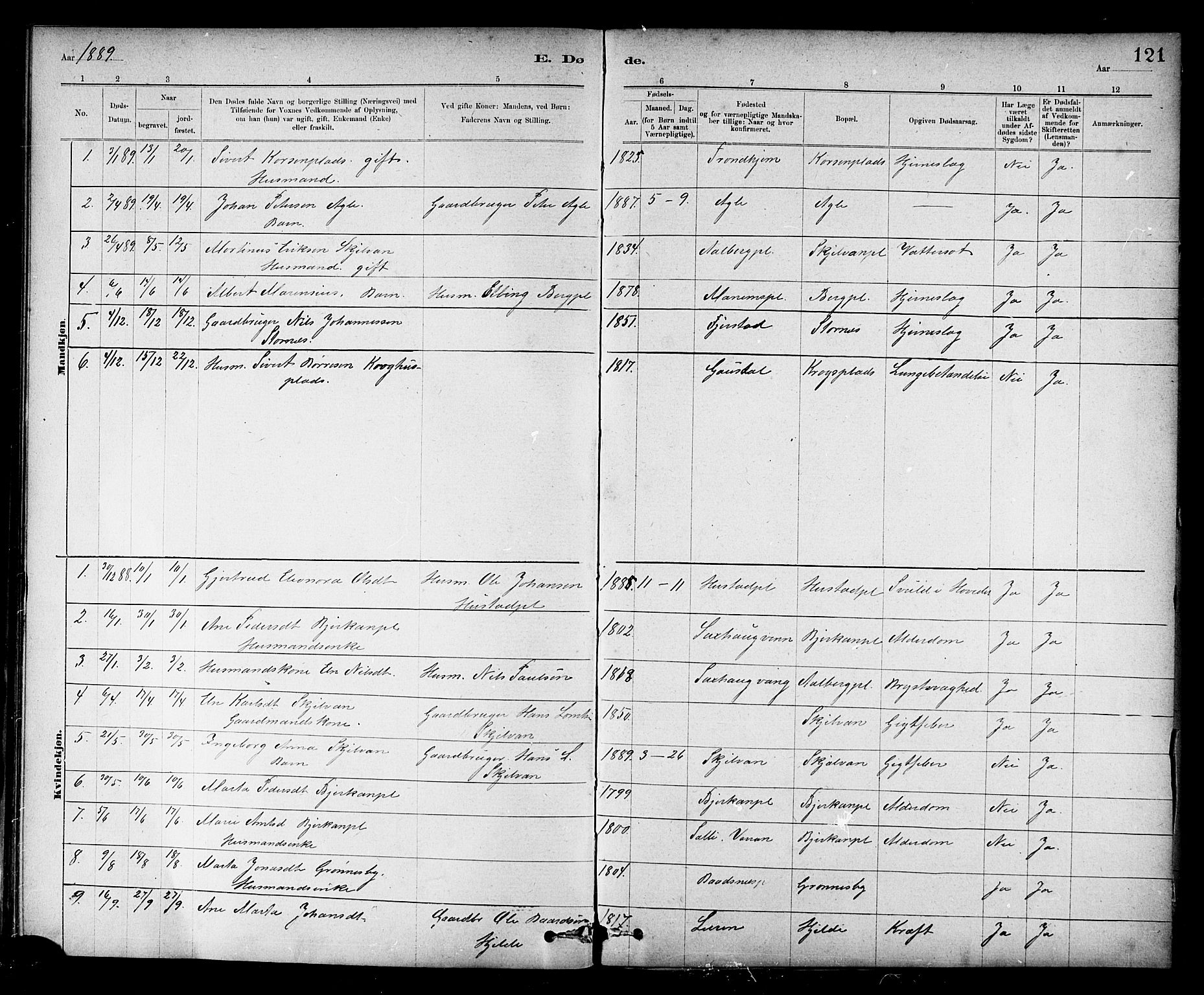 SAT, Ministerialprotokoller, klokkerbøker og fødselsregistre - Nord-Trøndelag, 732/L0318: Klokkerbok nr. 732C02, 1881-1911, s. 121