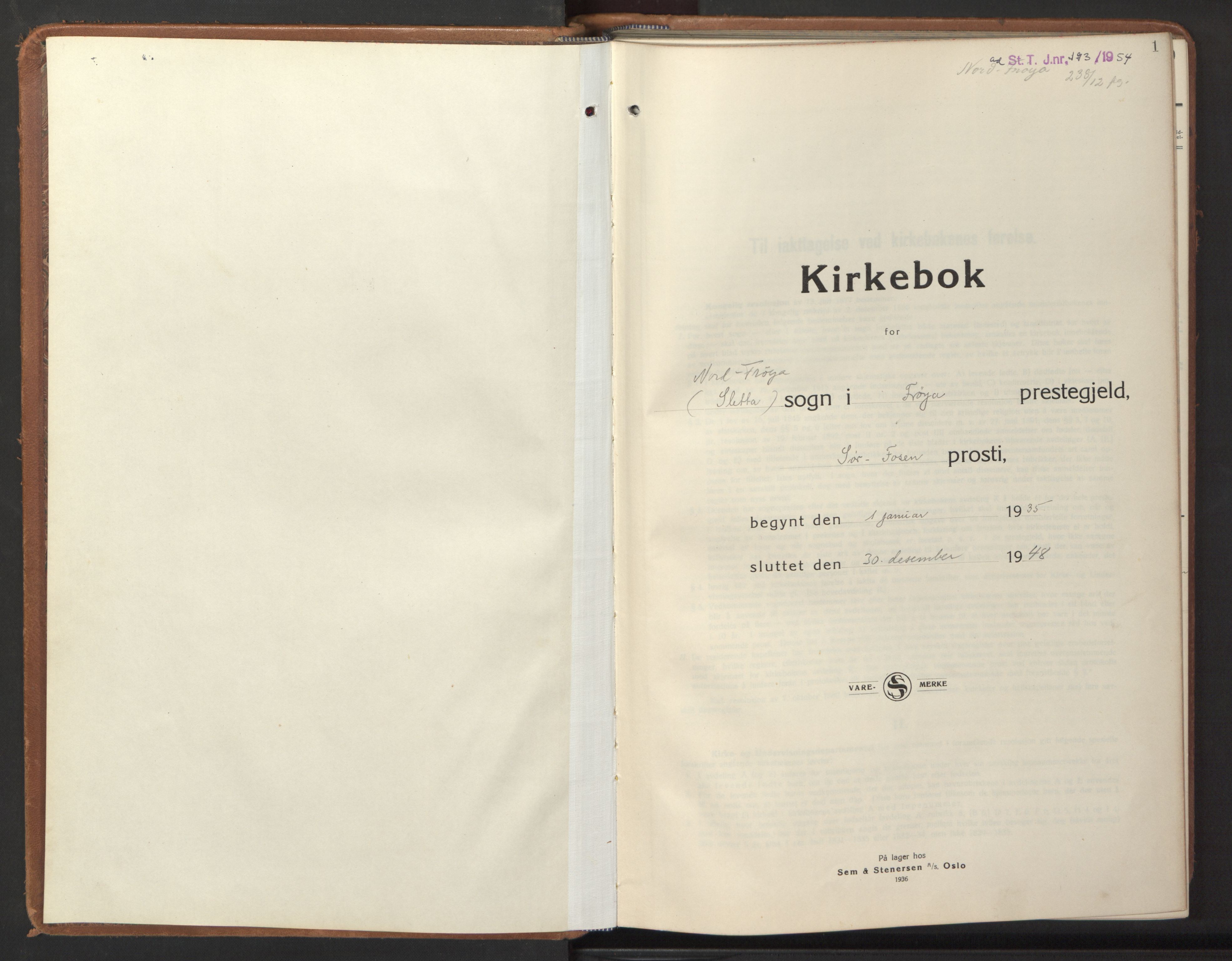 SAT, Ministerialprotokoller, klokkerbøker og fødselsregistre - Sør-Trøndelag, 640/L0590: Klokkerbok nr. 640C07, 1935-1948, s. 1