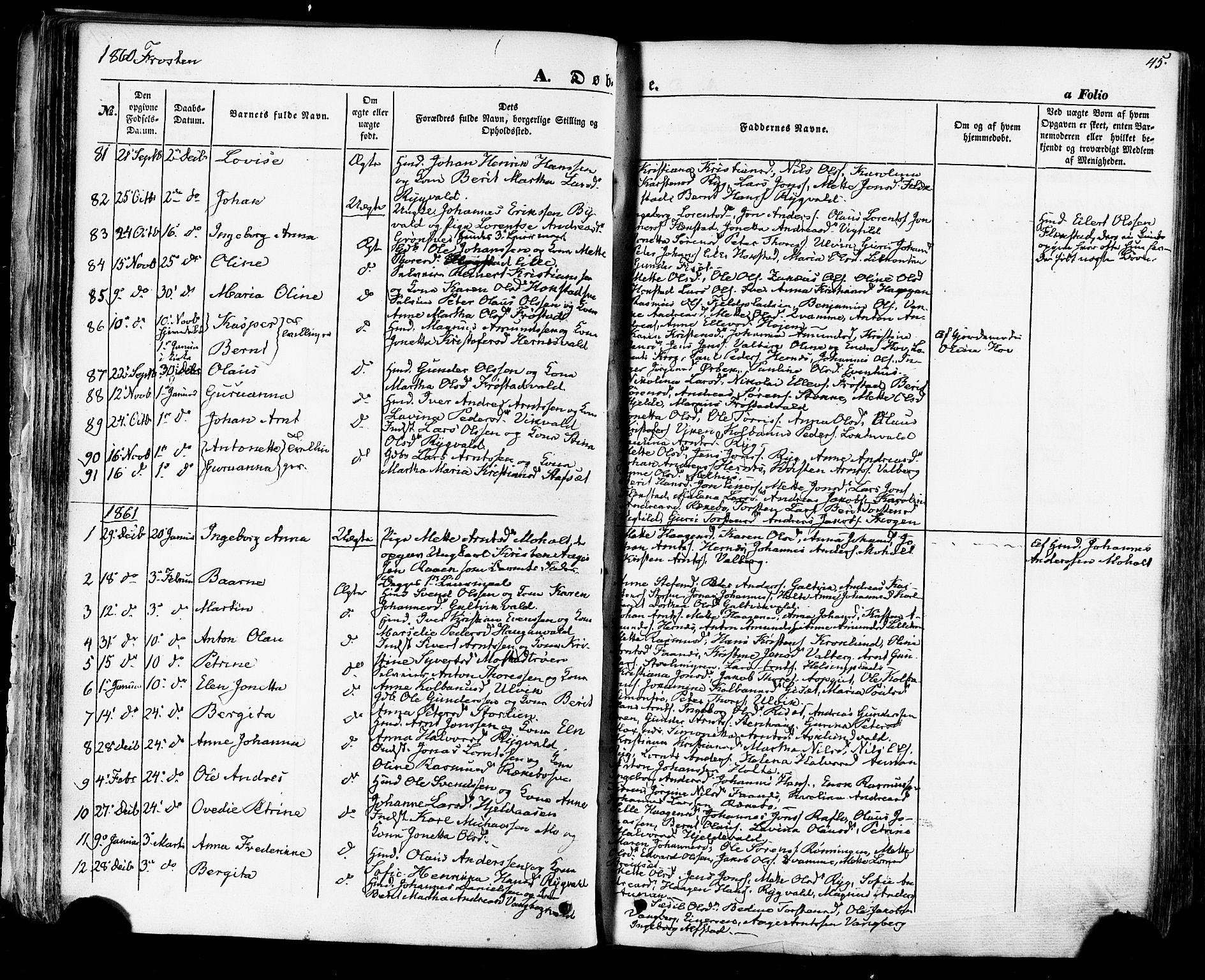 SAT, Ministerialprotokoller, klokkerbøker og fødselsregistre - Nord-Trøndelag, 713/L0116: Ministerialbok nr. 713A07 /1, 1850-1877, s. 45