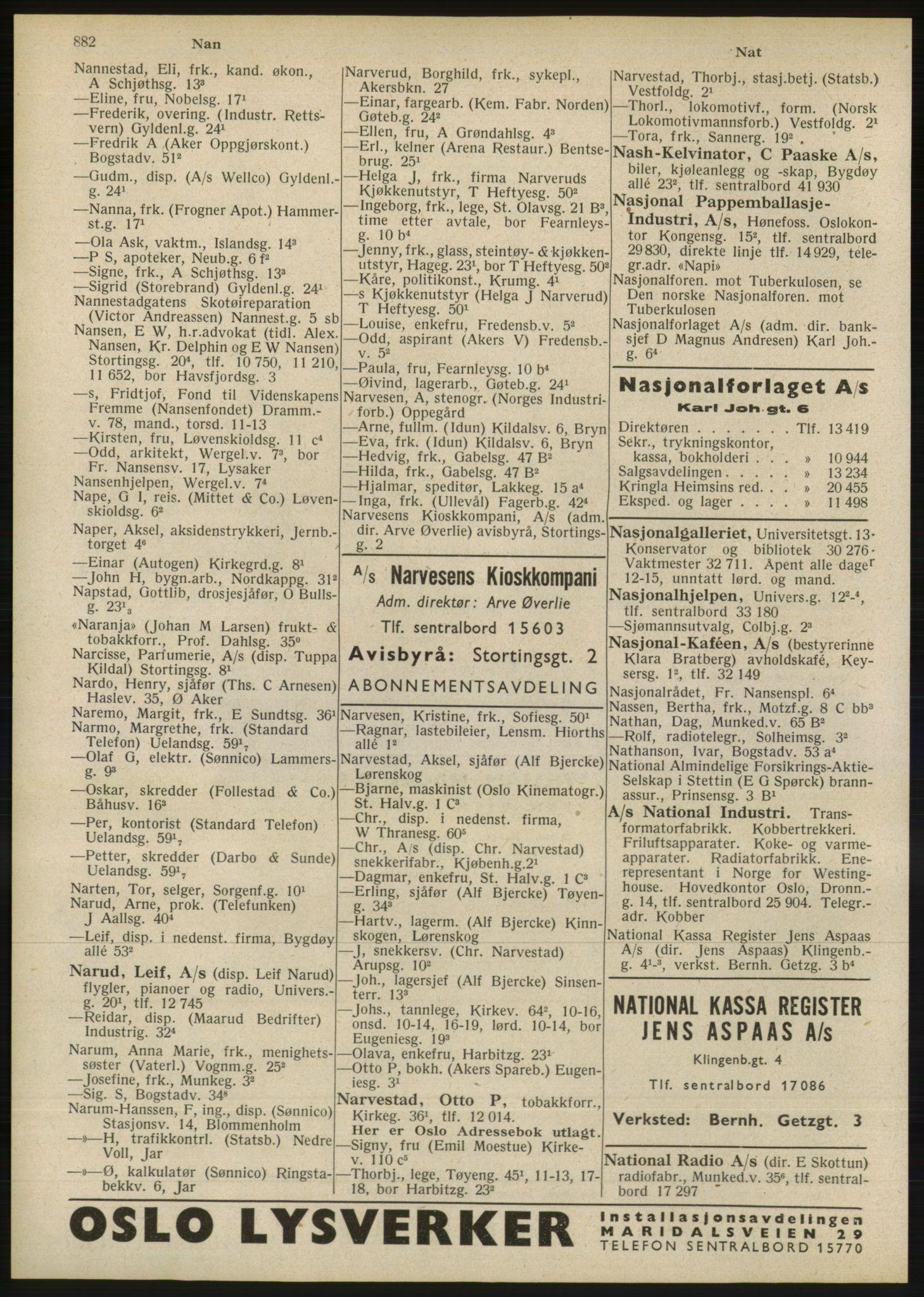 RA, Oslo adressebok (publikasjon)*, 1946, s. 882