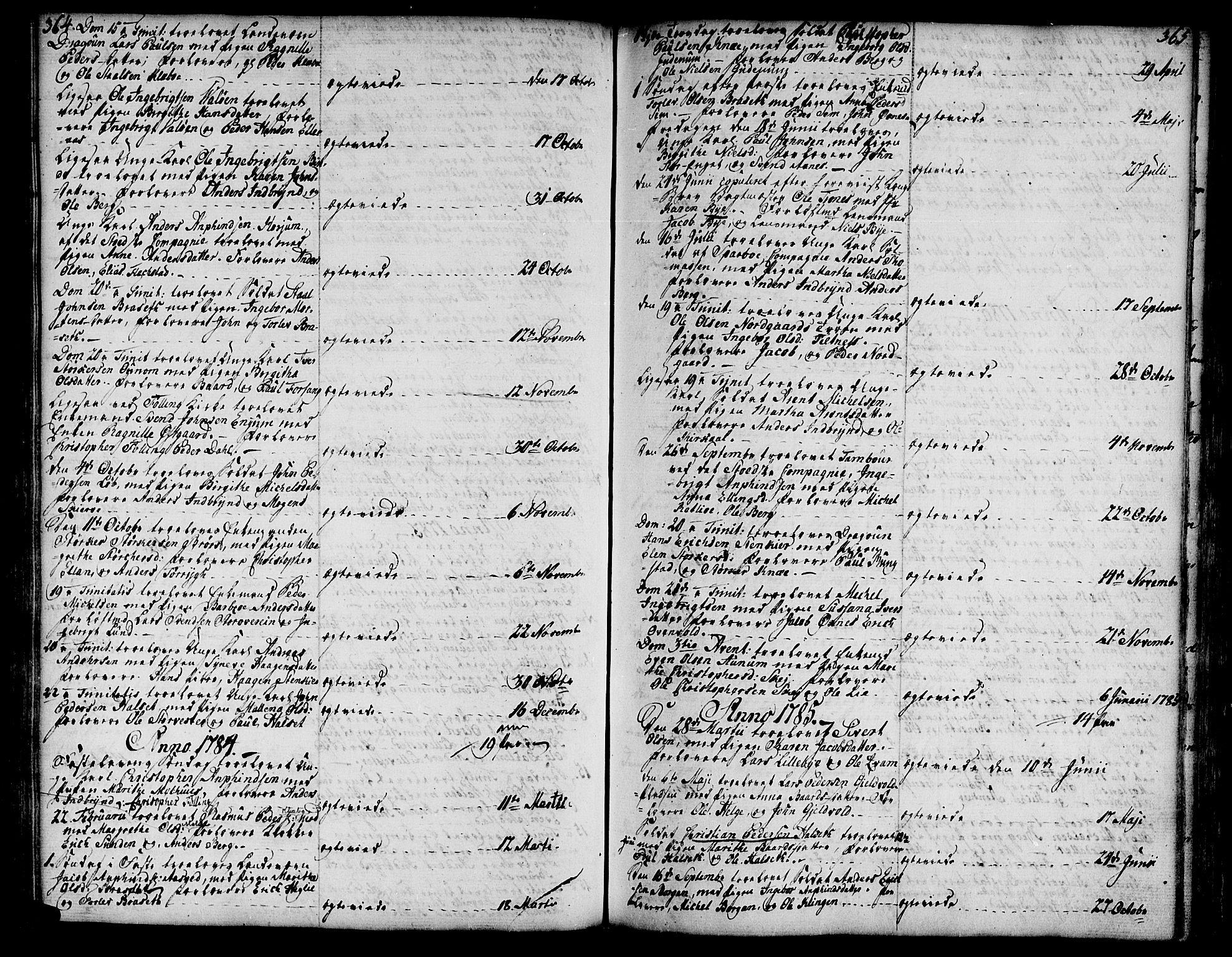 SAT, Ministerialprotokoller, klokkerbøker og fødselsregistre - Nord-Trøndelag, 746/L0440: Ministerialbok nr. 746A02, 1760-1815, s. 364-365
