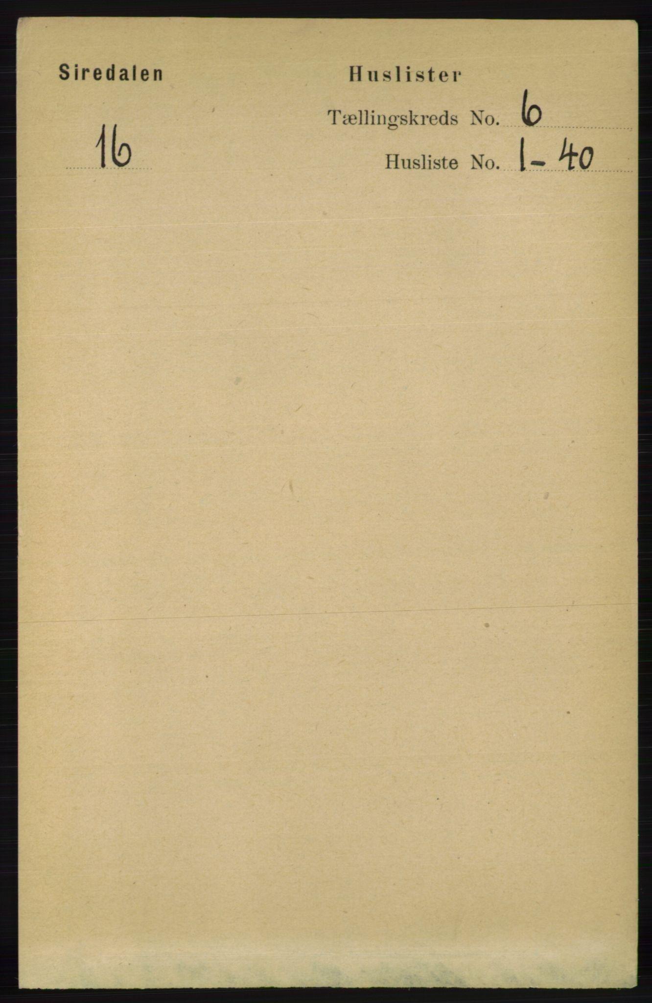 RA, Folketelling 1891 for 1046 Sirdal herred, 1891, s. 1591