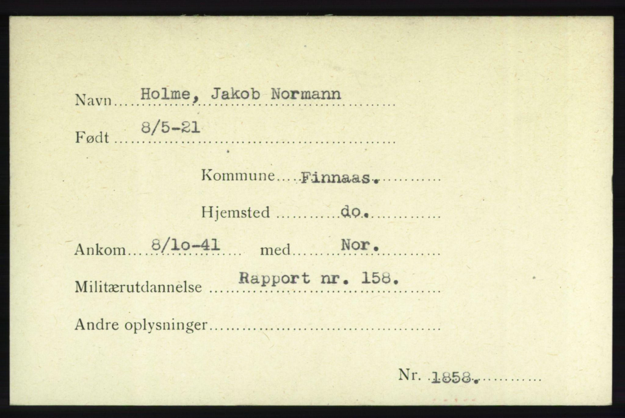 NHM, Forsvarets Overkommando. 2. kontor. Arkiv 8.1. Mottakersentralen FDE og FO.II, P/Pa/L0009: Kortsamling, 1940-1945, s. 1
