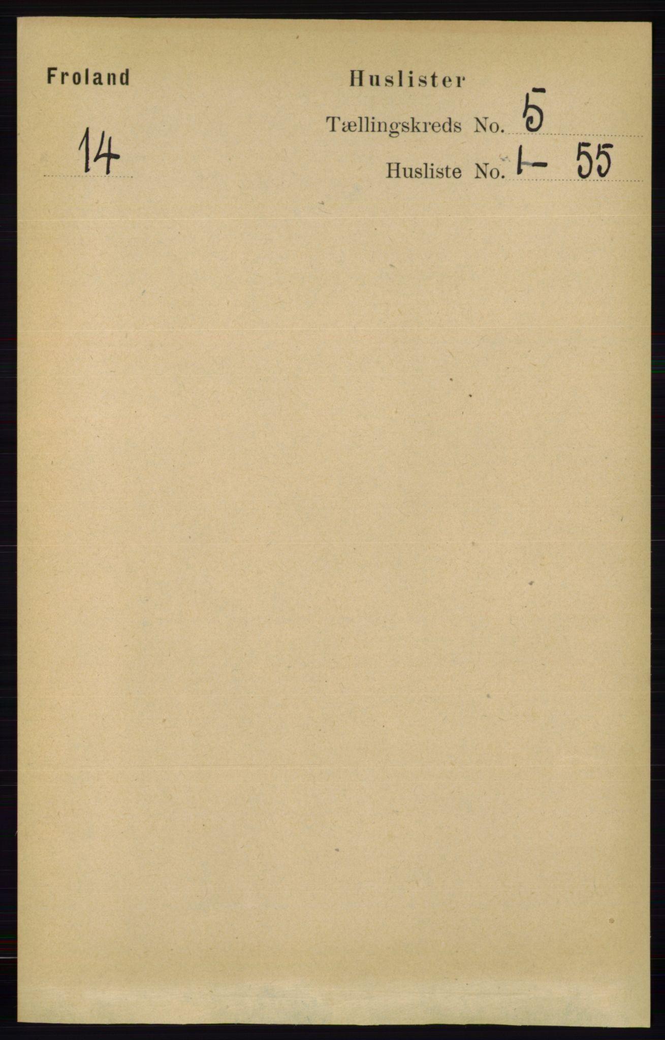 RA, Folketelling 1891 for 0919 Froland herred, 1891, s. 1722
