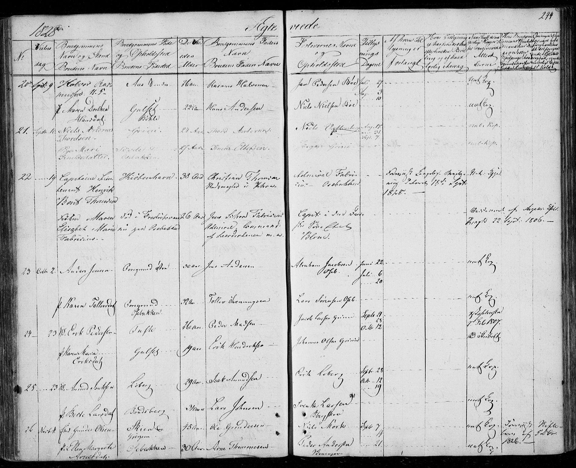 SAKO, Gjerpen kirkebøker, F/Fa/L0005: Ministerialbok nr. 5, 1823-1829, s. 244