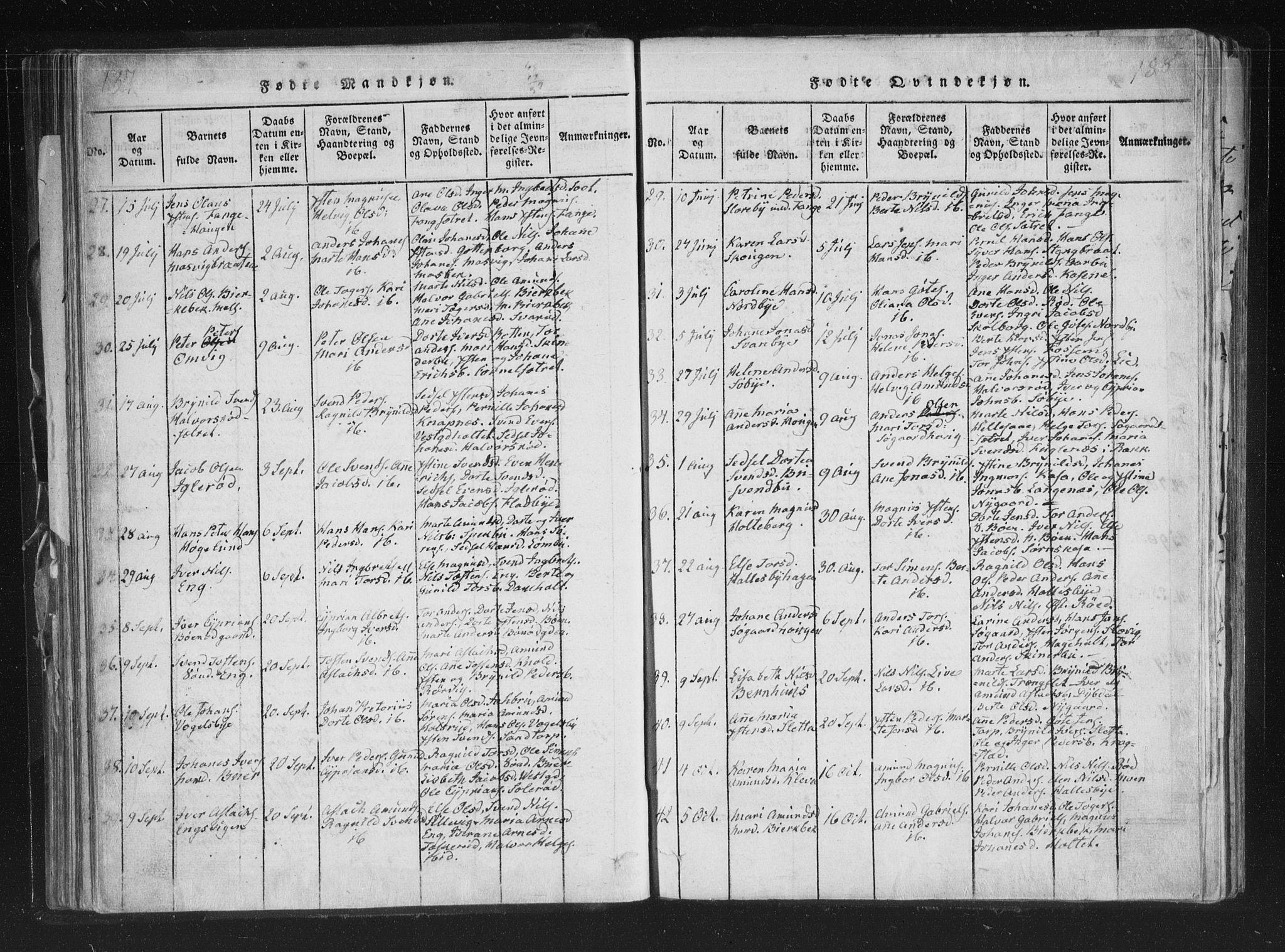 SAO, Aremark prestekontor Kirkebøker, F/Fc/L0001: Ministerialbok nr. III 1, 1814-1834, s. 187-188