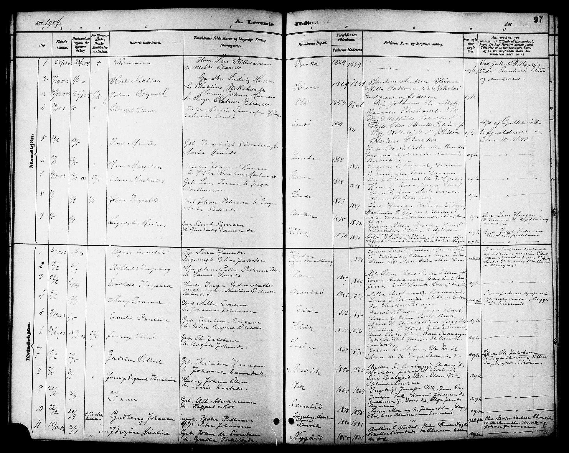 SAT, Ministerialprotokoller, klokkerbøker og fødselsregistre - Sør-Trøndelag, 657/L0716: Klokkerbok nr. 657C03, 1889-1904, s. 97