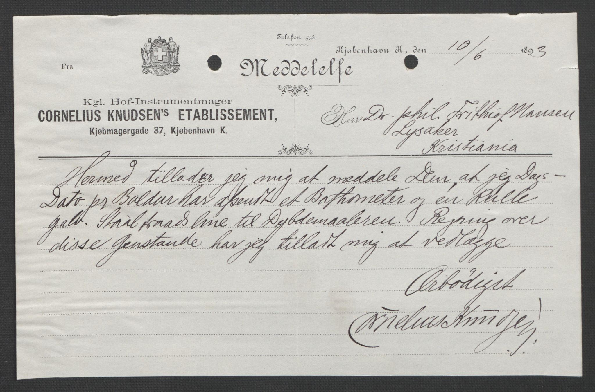RA, Arbeidskomitéen for Fridtjof Nansens polarekspedisjon, D/L0003: Innk. brev og telegrammer vedr. proviant og utrustning, 1893, s. 242