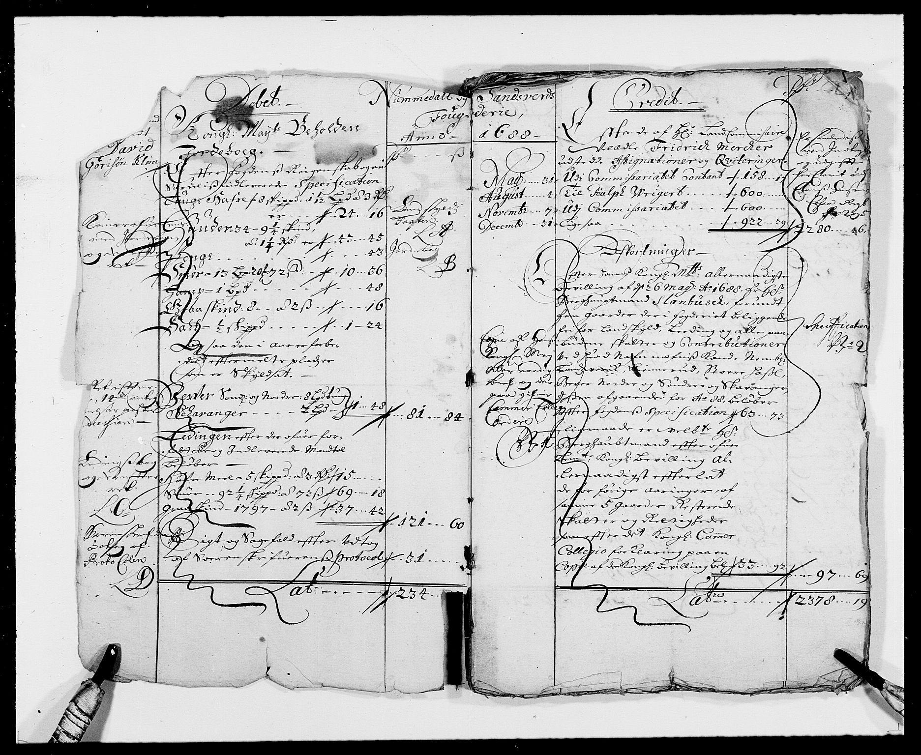 RA, Rentekammeret inntil 1814, Reviderte regnskaper, Fogderegnskap, R24/L1573: Fogderegnskap Numedal og Sandsvær, 1687-1691, s. 223