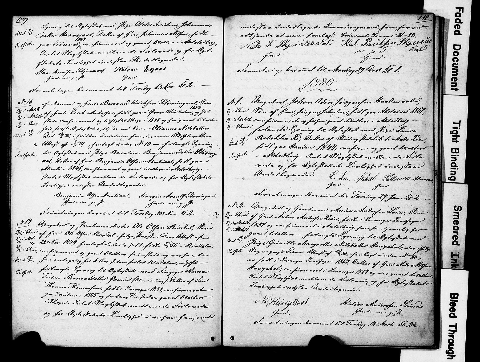 SAT, Ministerialprotokoller, klokkerbøker og fødselsregistre - Nord-Trøndelag, 717/L0161: Forlovererklæringer nr. 717A11, 1850-1895, s. 112
