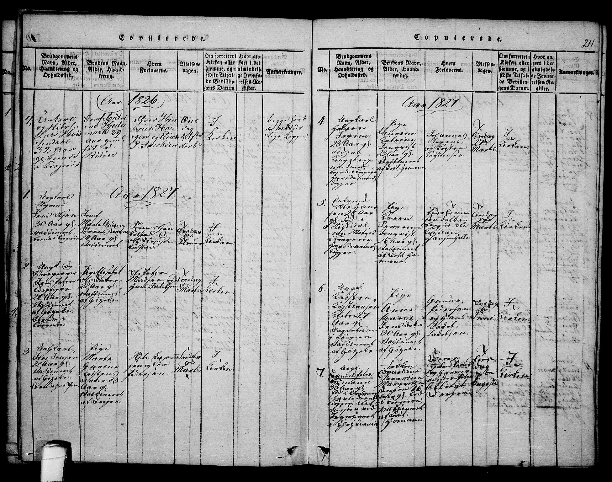 SAKO, Kragerø kirkebøker, F/Fa/L0004: Ministerialbok nr. 4, 1814-1831, s. 211
