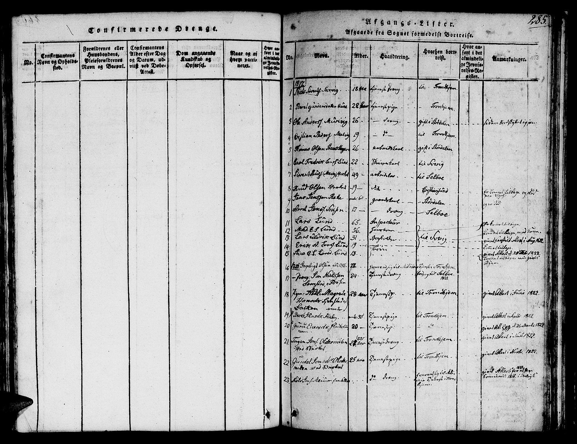 SAT, Ministerialprotokoller, klokkerbøker og fødselsregistre - Sør-Trøndelag, 616/L0420: Klokkerbok nr. 616C03, 1817-1835, s. 285