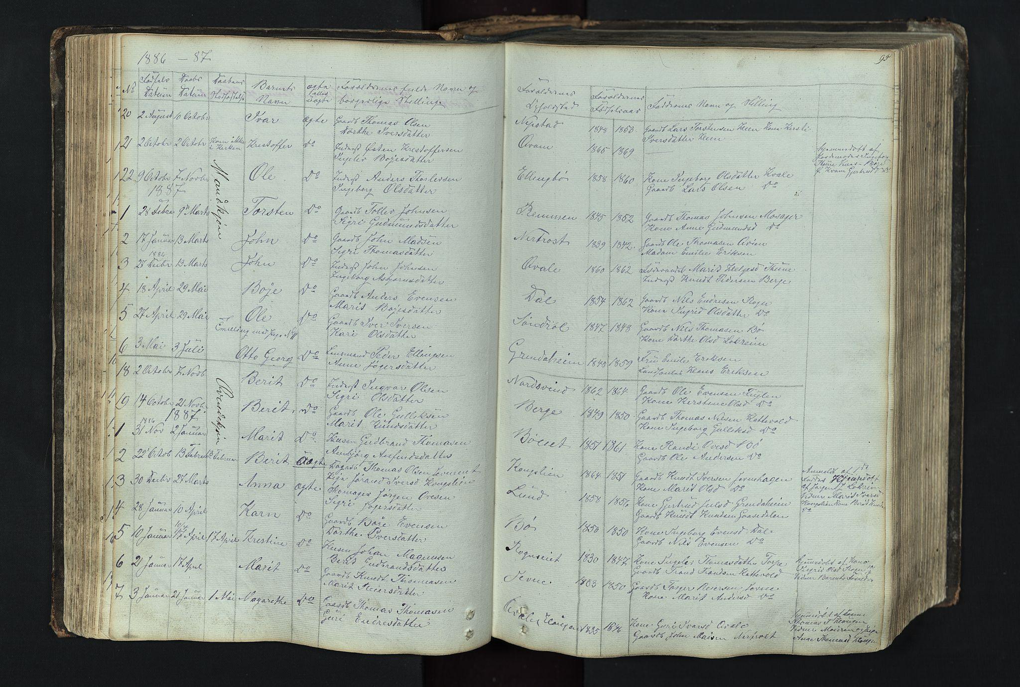 SAH, Vang prestekontor, Valdres, Klokkerbok nr. 4, 1835-1892, s. 95