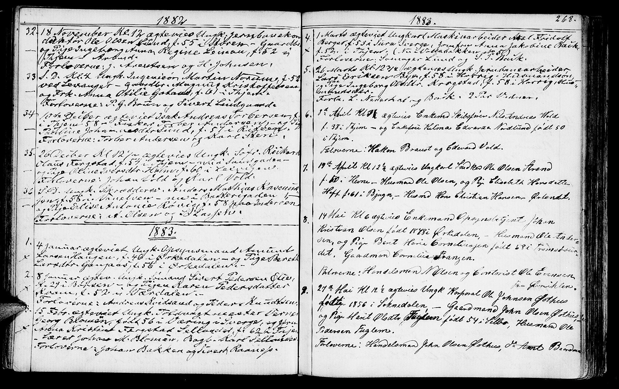 SAT, Ministerialprotokoller, klokkerbøker og fødselsregistre - Sør-Trøndelag, 602/L0142: Klokkerbok nr. 602C10, 1872-1894, s. 268