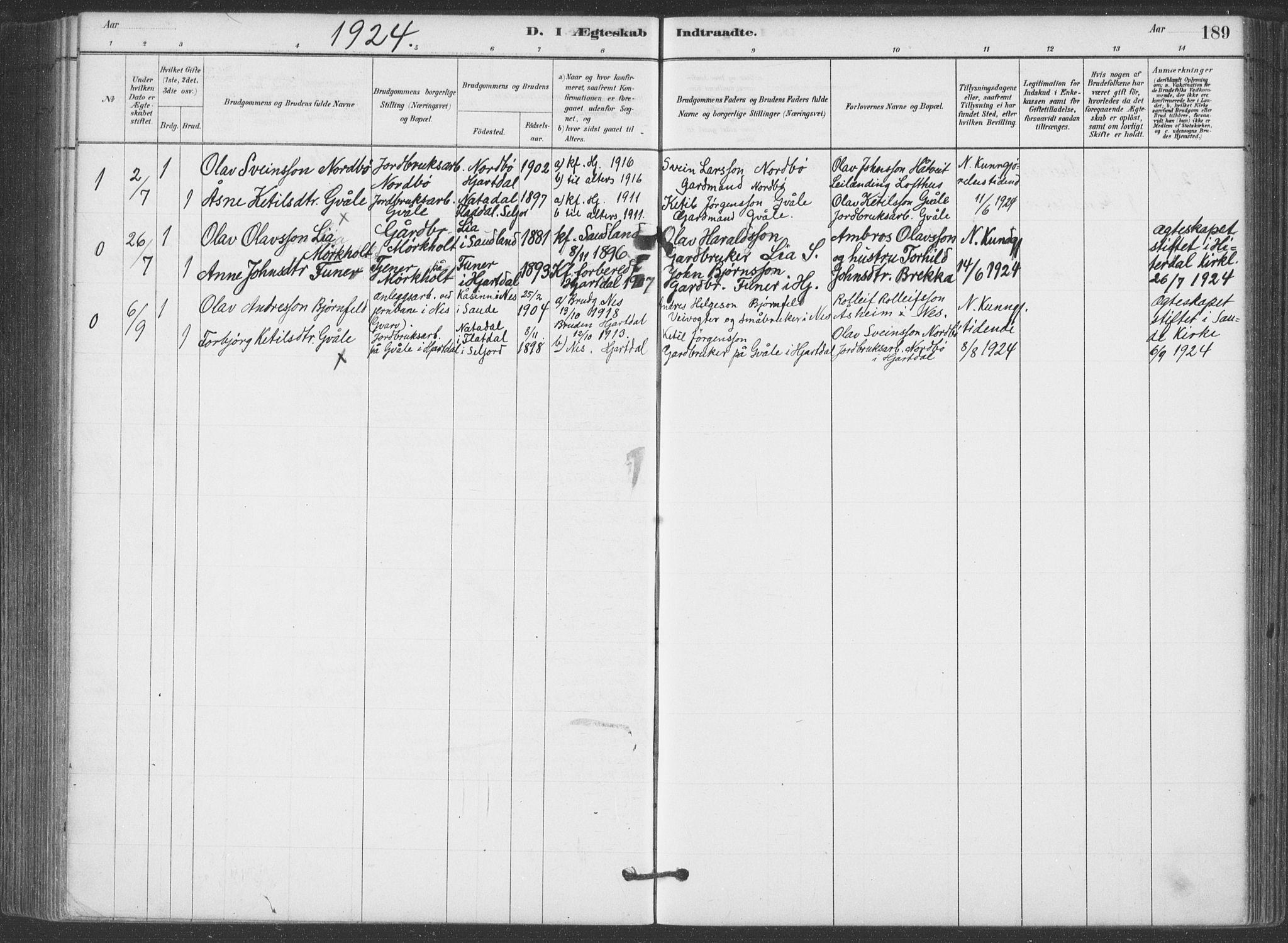 SAKO, Hjartdal kirkebøker, F/Fa/L0010: Ministerialbok nr. I 10, 1880-1929, s. 189