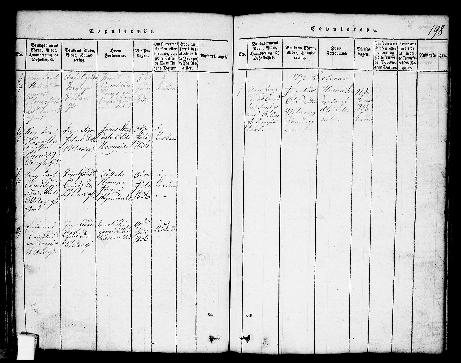 SAKO, Nissedal kirkebøker, G/Gb/L0001: Klokkerbok nr. II 1, 1814-1862, s. 198