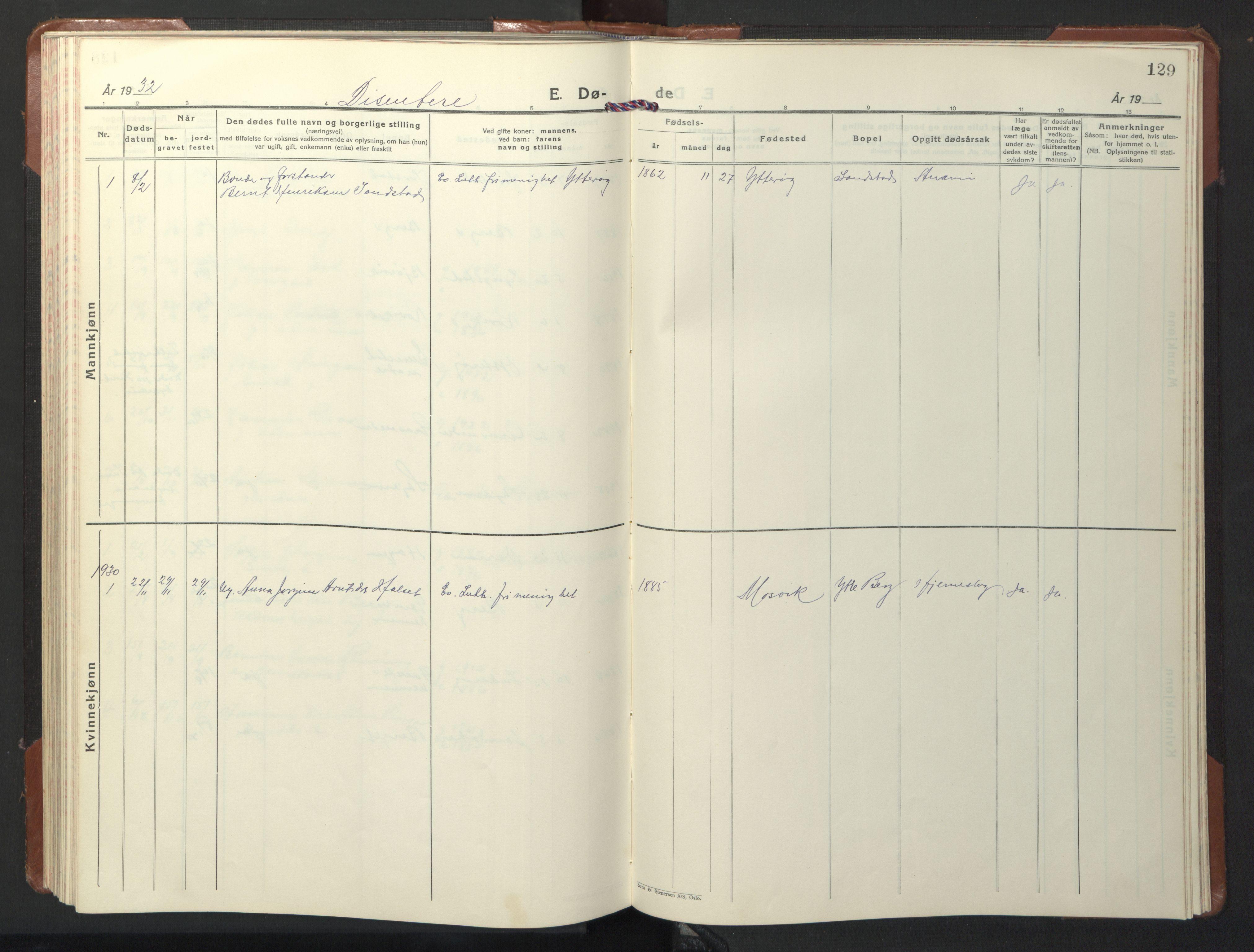 SAT, Ministerialprotokoller, klokkerbøker og fødselsregistre - Nord-Trøndelag, 722/L0227: Klokkerbok nr. 722C03, 1928-1958, s. 129