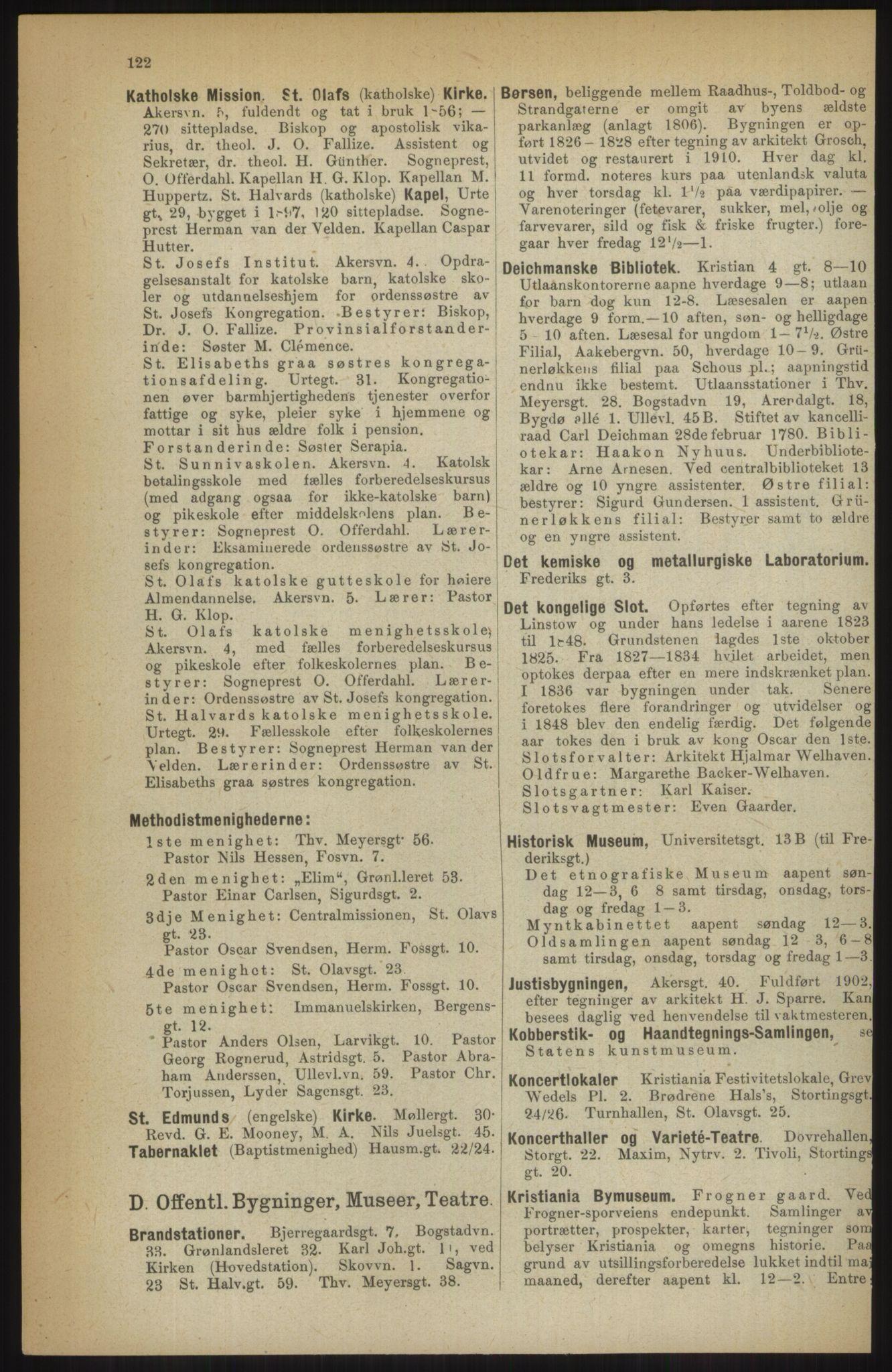 RA, Kristiania adressebok (publikasjon)*, 1914, s. 122