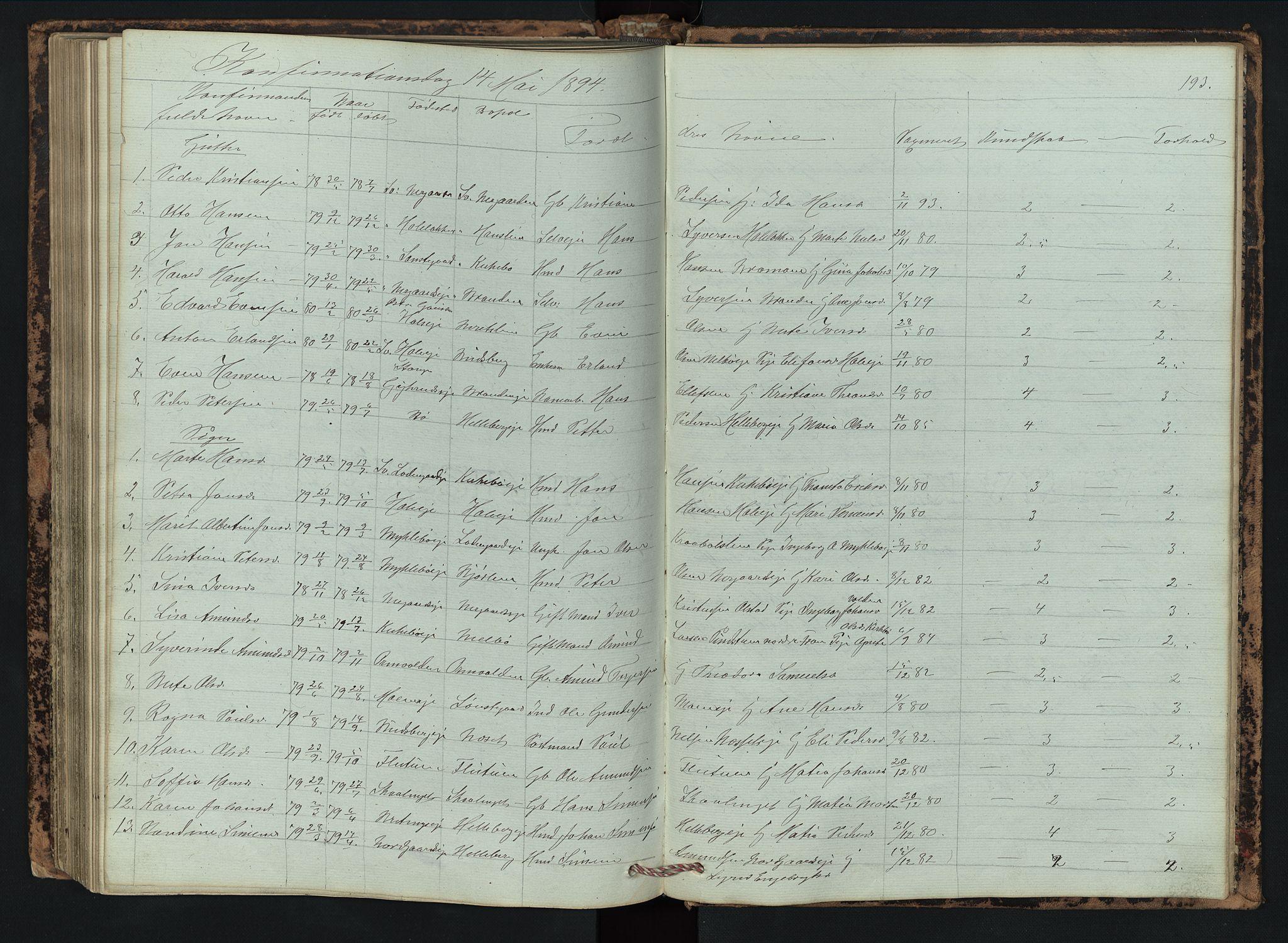 SAH, Vestre Gausdal prestekontor, Klokkerbok nr. 2, 1874-1897, s. 193