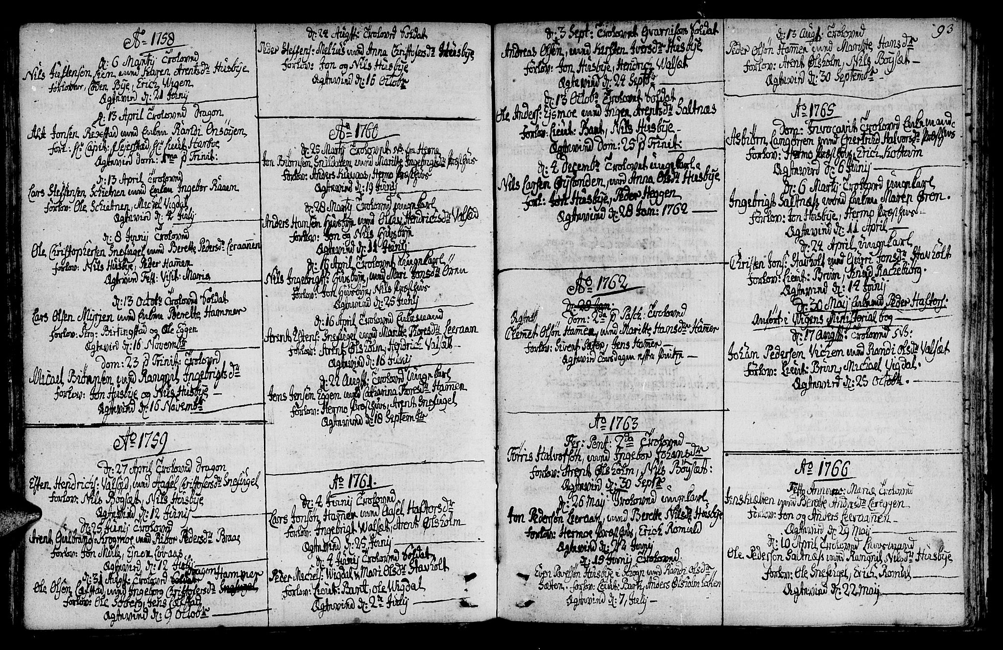 SAT, Ministerialprotokoller, klokkerbøker og fødselsregistre - Sør-Trøndelag, 666/L0784: Ministerialbok nr. 666A02, 1754-1802, s. 93