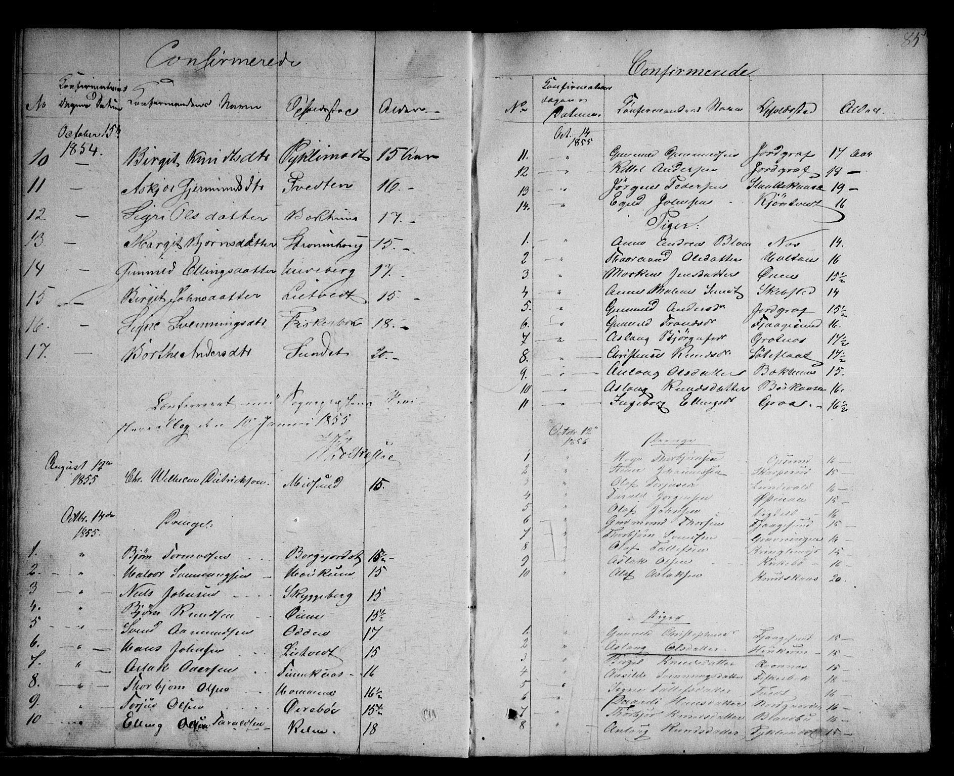 SAKO, Kviteseid kirkebøker, G/Ga/L0001: Klokkerbok nr. I 1, 1850-1893, s. 85