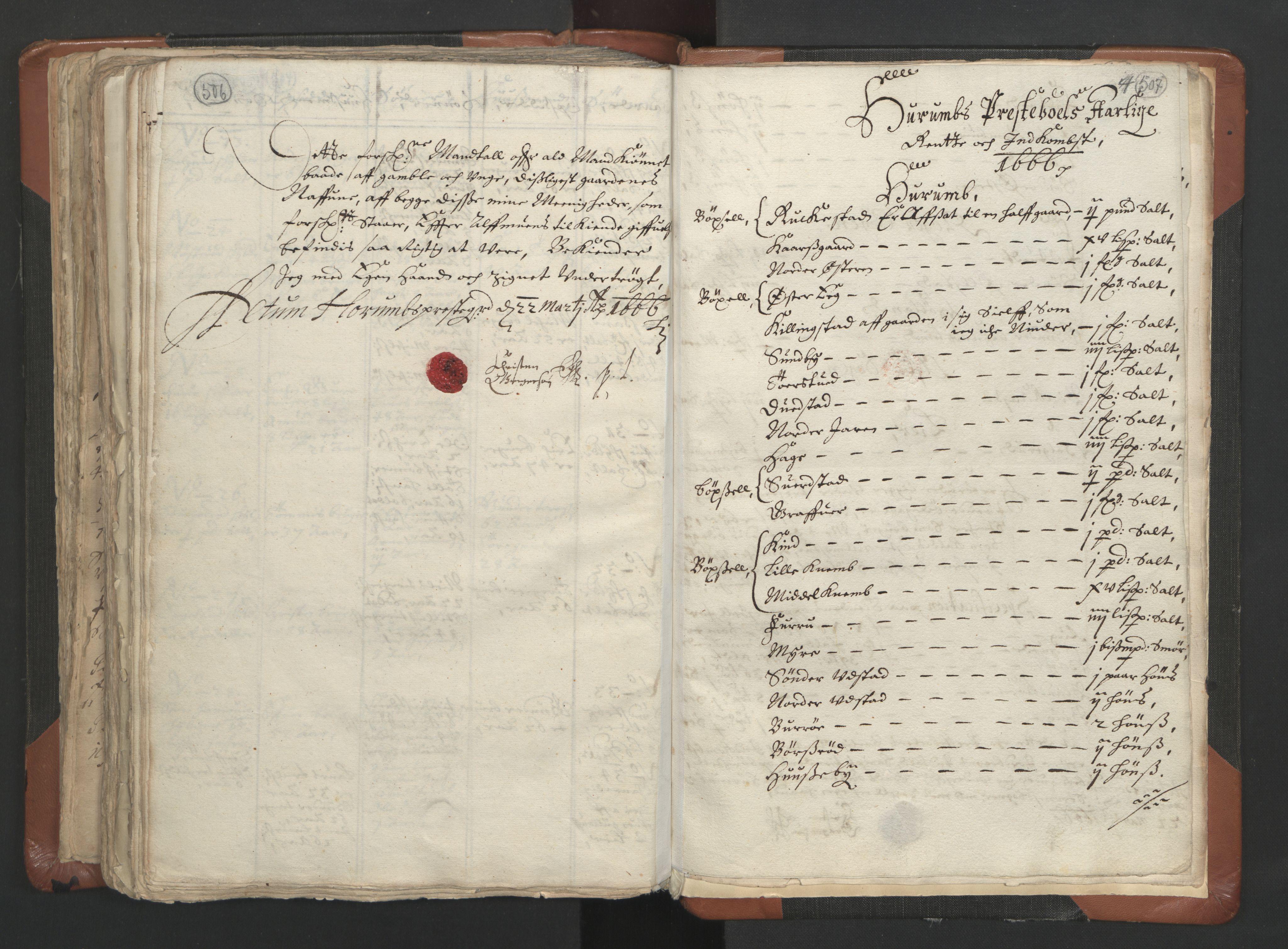 RA, Sogneprestenes manntall 1664-1666, nr. 9: Bragernes prosti, 1664-1666, s. 506-507