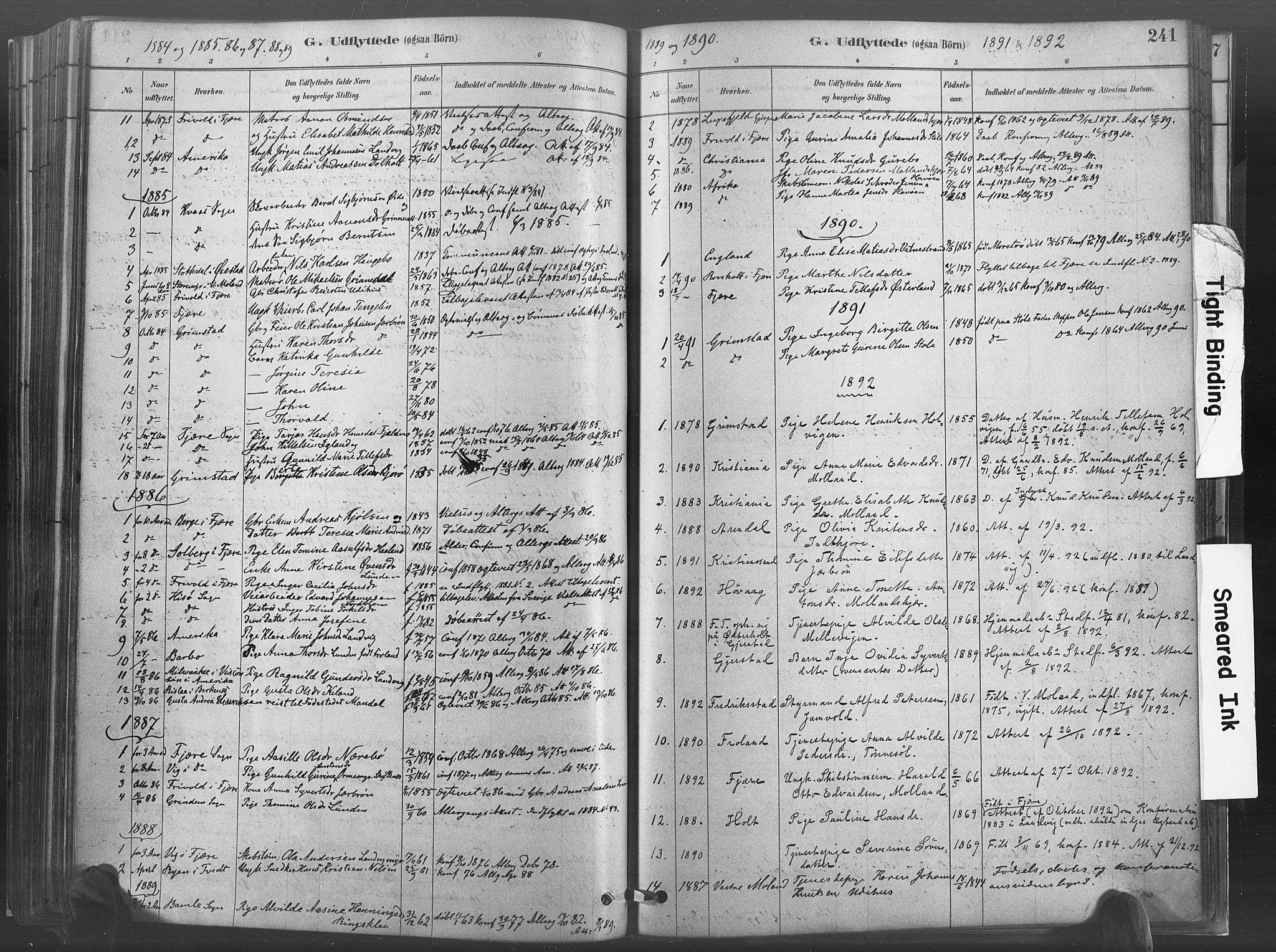 SAK, Hommedal sokneprestkontor, F/Fa/Fab/L0006: Ministerialbok nr. A 6, 1878-1897, s. 241