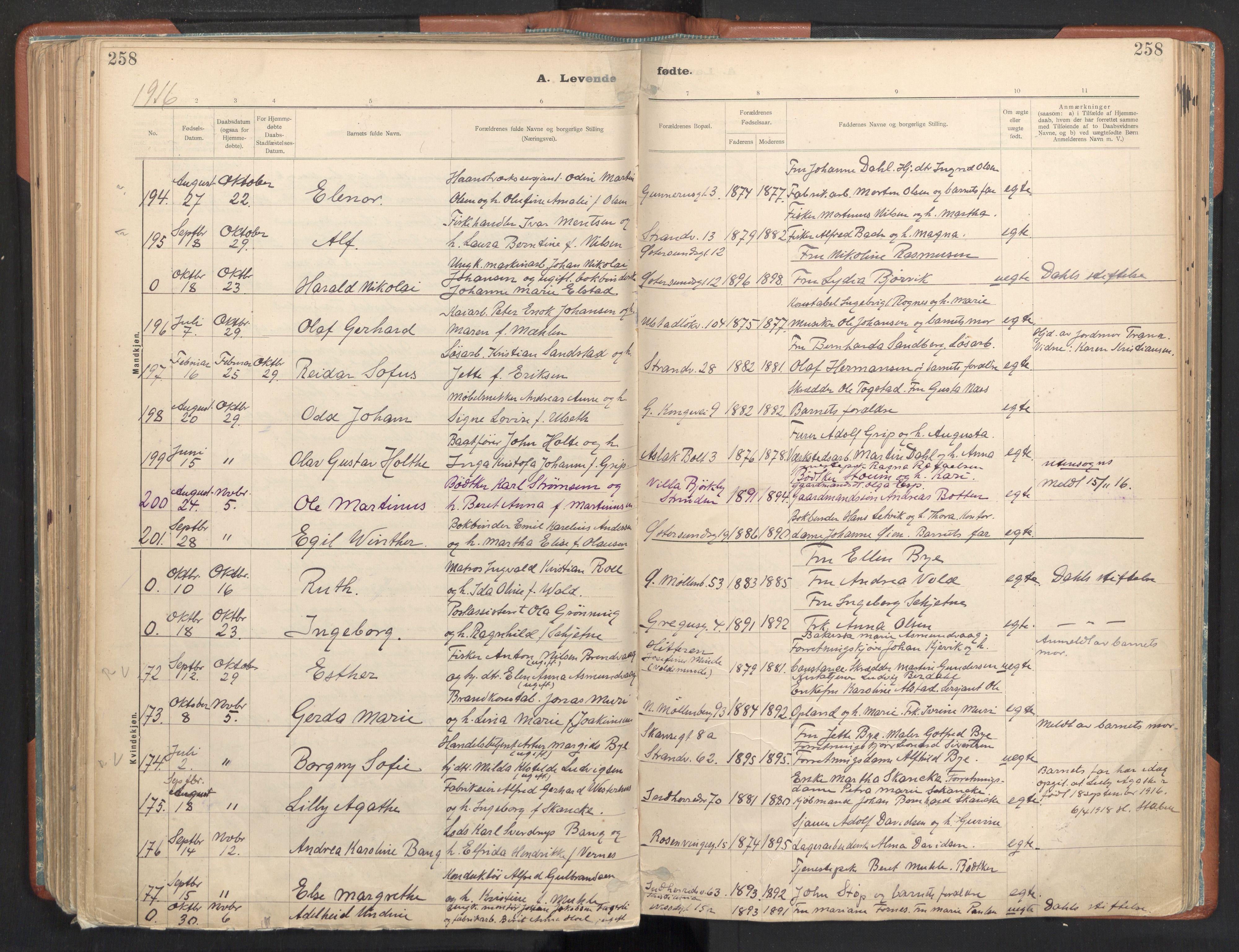 SAT, Ministerialprotokoller, klokkerbøker og fødselsregistre - Sør-Trøndelag, 605/L0243: Ministerialbok nr. 605A05, 1908-1923, s. 258