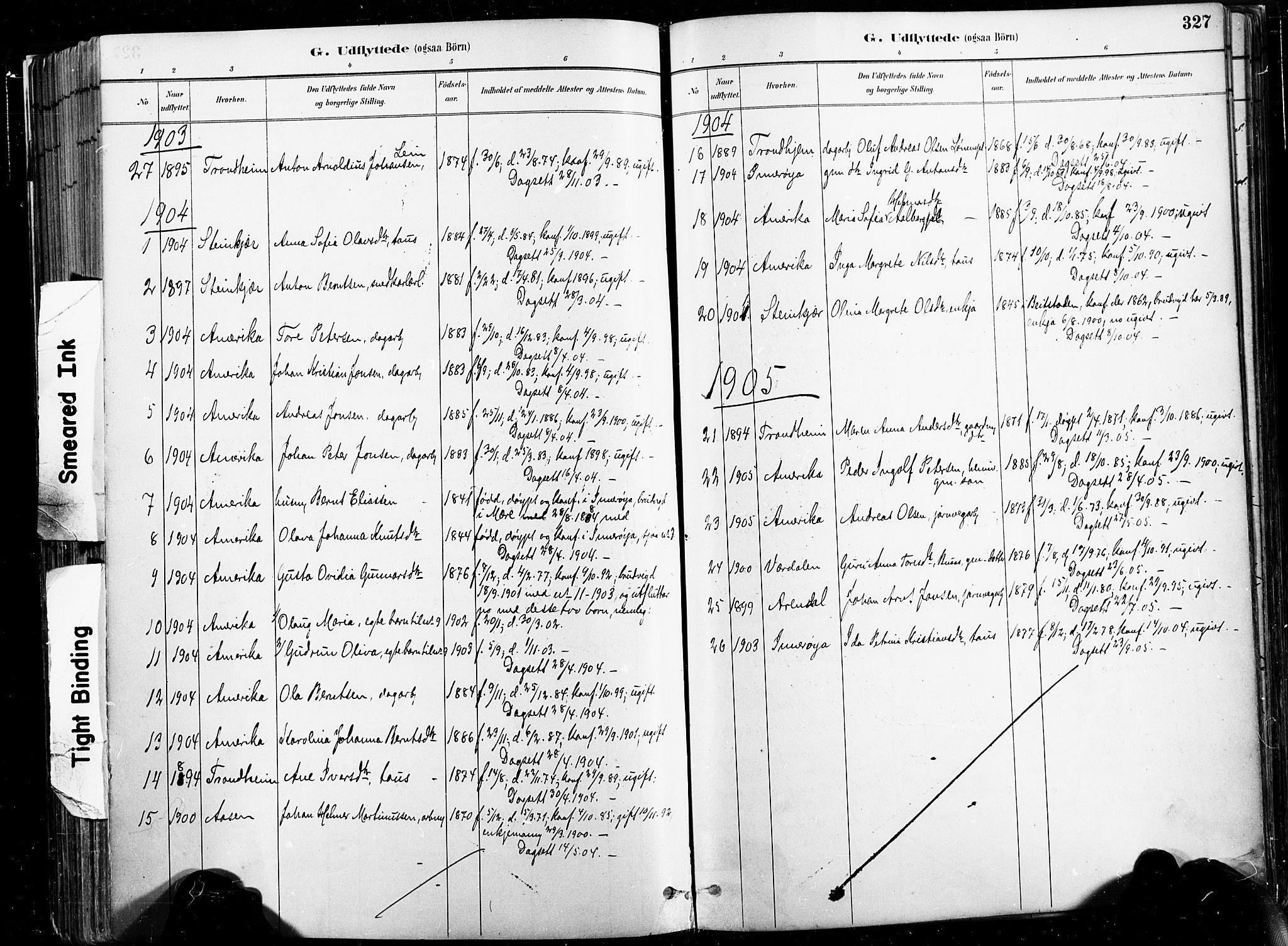 SAT, Ministerialprotokoller, klokkerbøker og fødselsregistre - Nord-Trøndelag, 735/L0351: Ministerialbok nr. 735A10, 1884-1908, s. 327