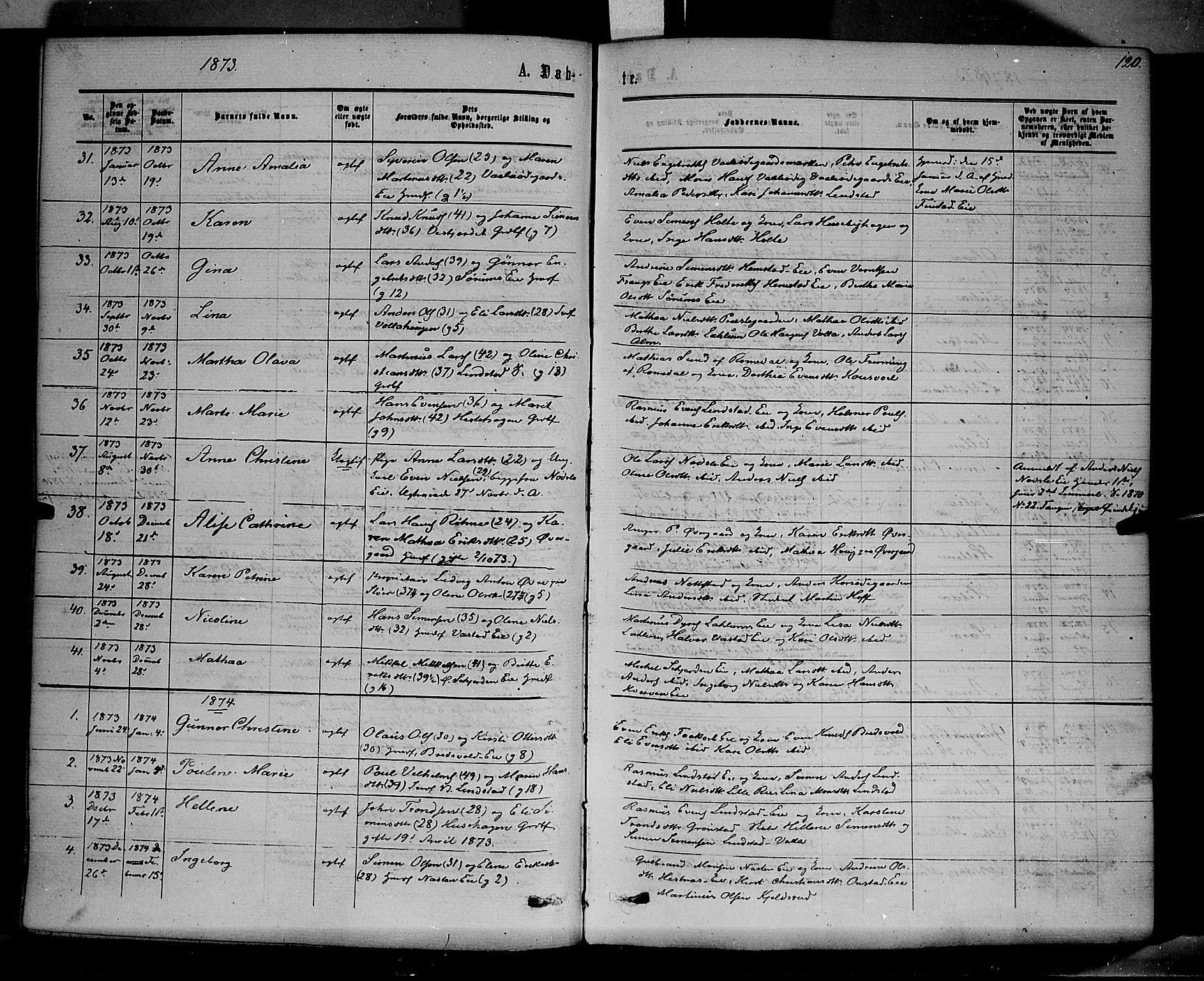 SAH, Stange prestekontor, K/L0013: Ministerialbok nr. 13, 1862-1879, s. 120