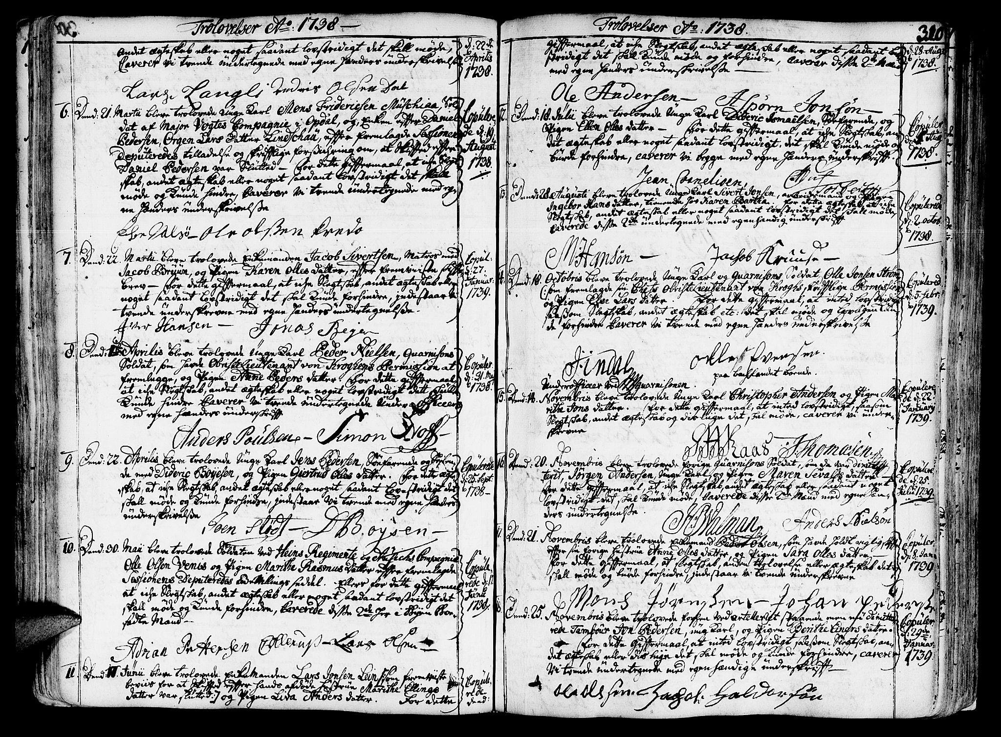 SAT, Ministerialprotokoller, klokkerbøker og fødselsregistre - Sør-Trøndelag, 602/L0103: Ministerialbok nr. 602A01, 1732-1774, s. 310
