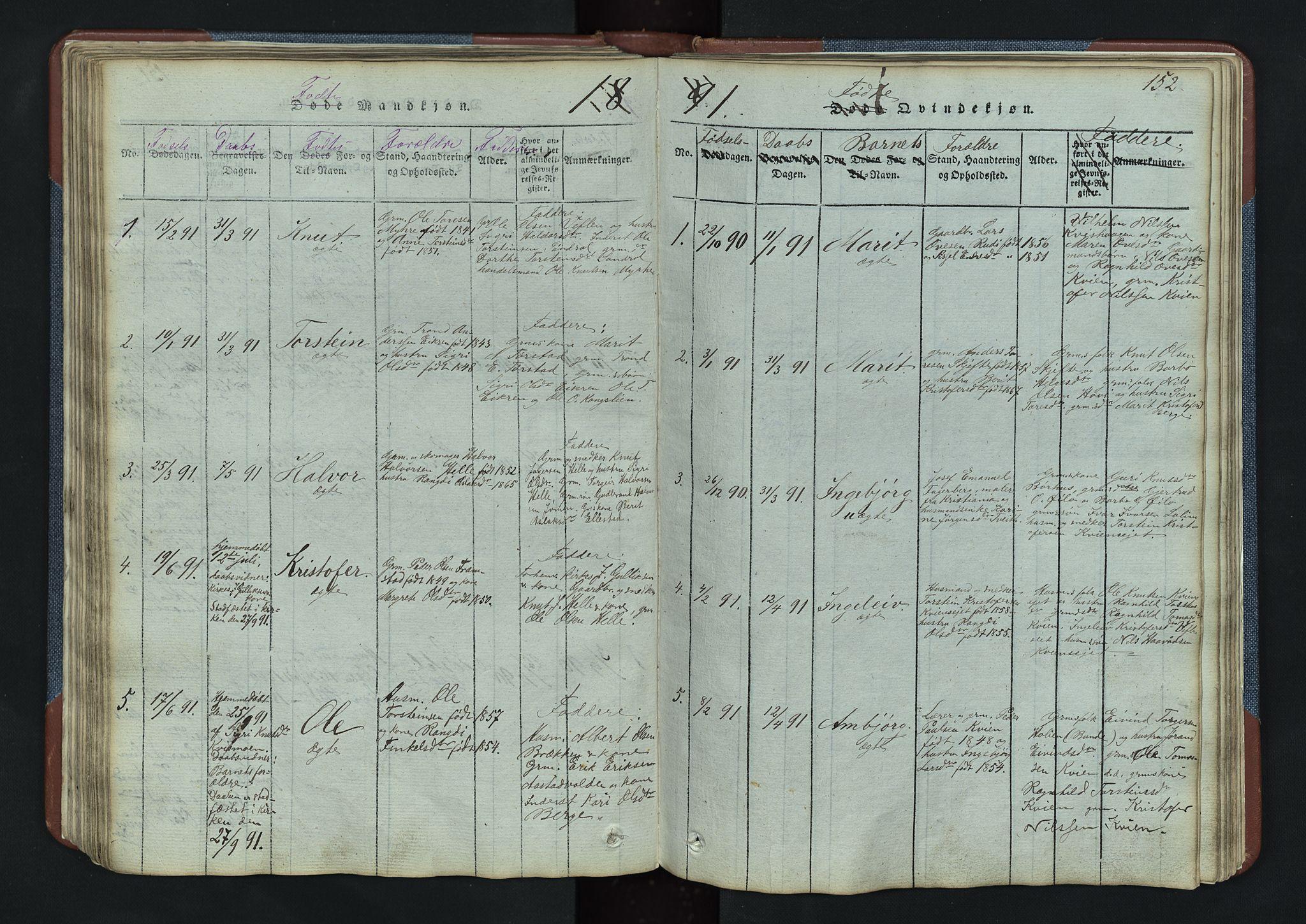 SAH, Vang prestekontor, Valdres, Klokkerbok nr. 3, 1814-1892, s. 152